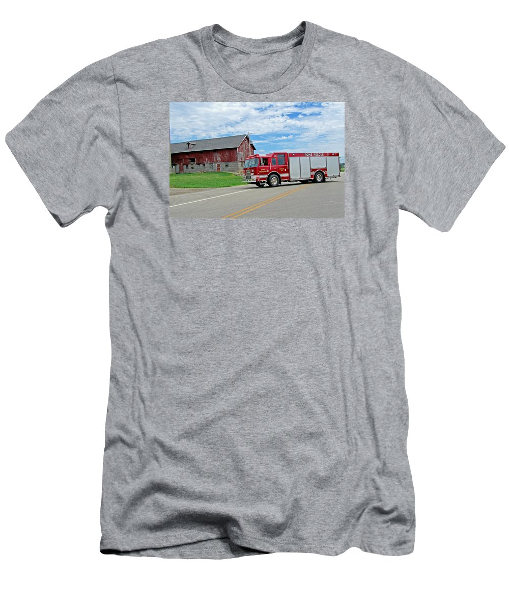 Fire Service Men's T-Shirt (Athletic Fit) featuring the photograph Rome Rescue by Susan McMenamin