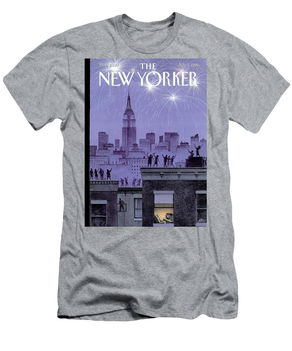 Harry Bliss Hbl T-Shirt featuring the painting Rooftop Revelers Celebrate New Year's Eve by Harry Bliss