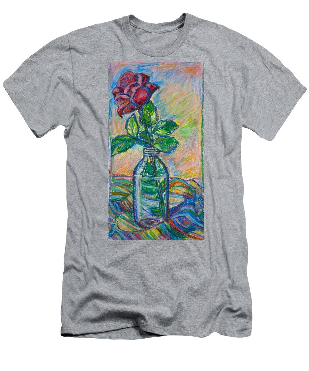 Still Life Men's T-Shirt (Athletic Fit) featuring the painting Rose In A Bottle by Kendall Kessler