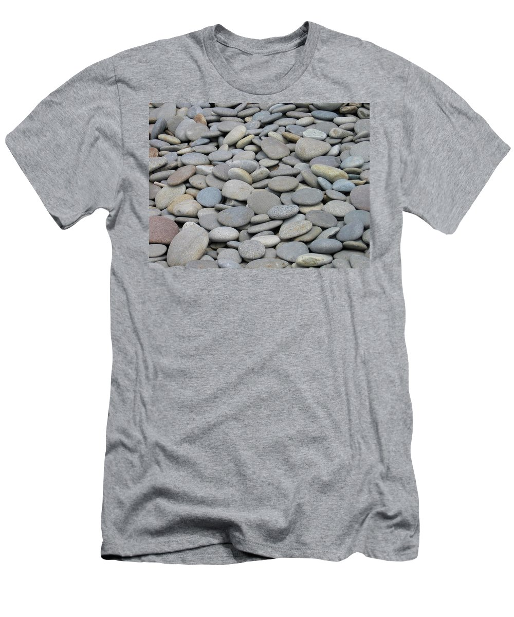 Beach Rocks Men's T-Shirt (Athletic Fit) featuring the photograph Round Rocks by Kimberly Maxwell Grantier