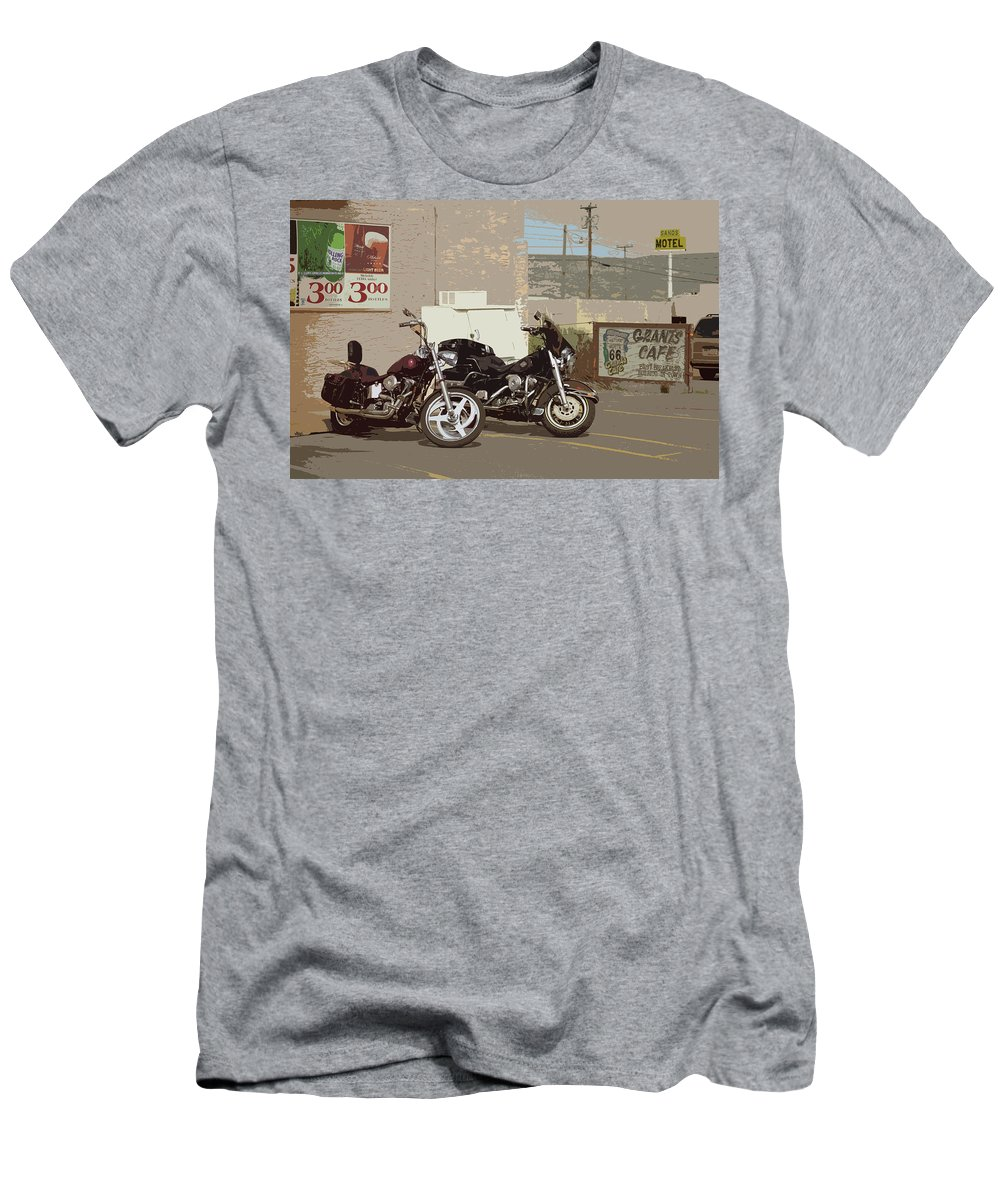 66 Men's T-Shirt (Athletic Fit) featuring the photograph Route 66 Motorcycles With A Dry Brush Effect by Frank Romeo