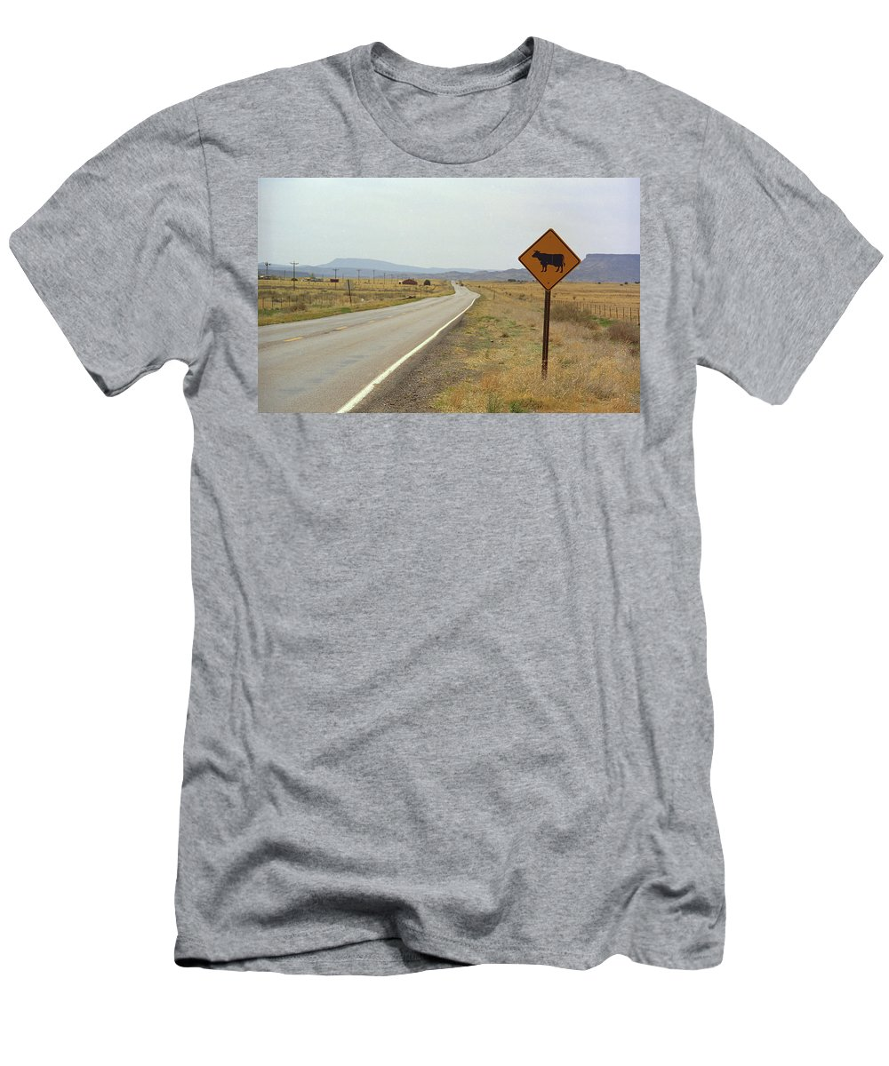66 Men's T-Shirt (Athletic Fit) featuring the photograph Route 66 - New Mexico Highway by Frank Romeo