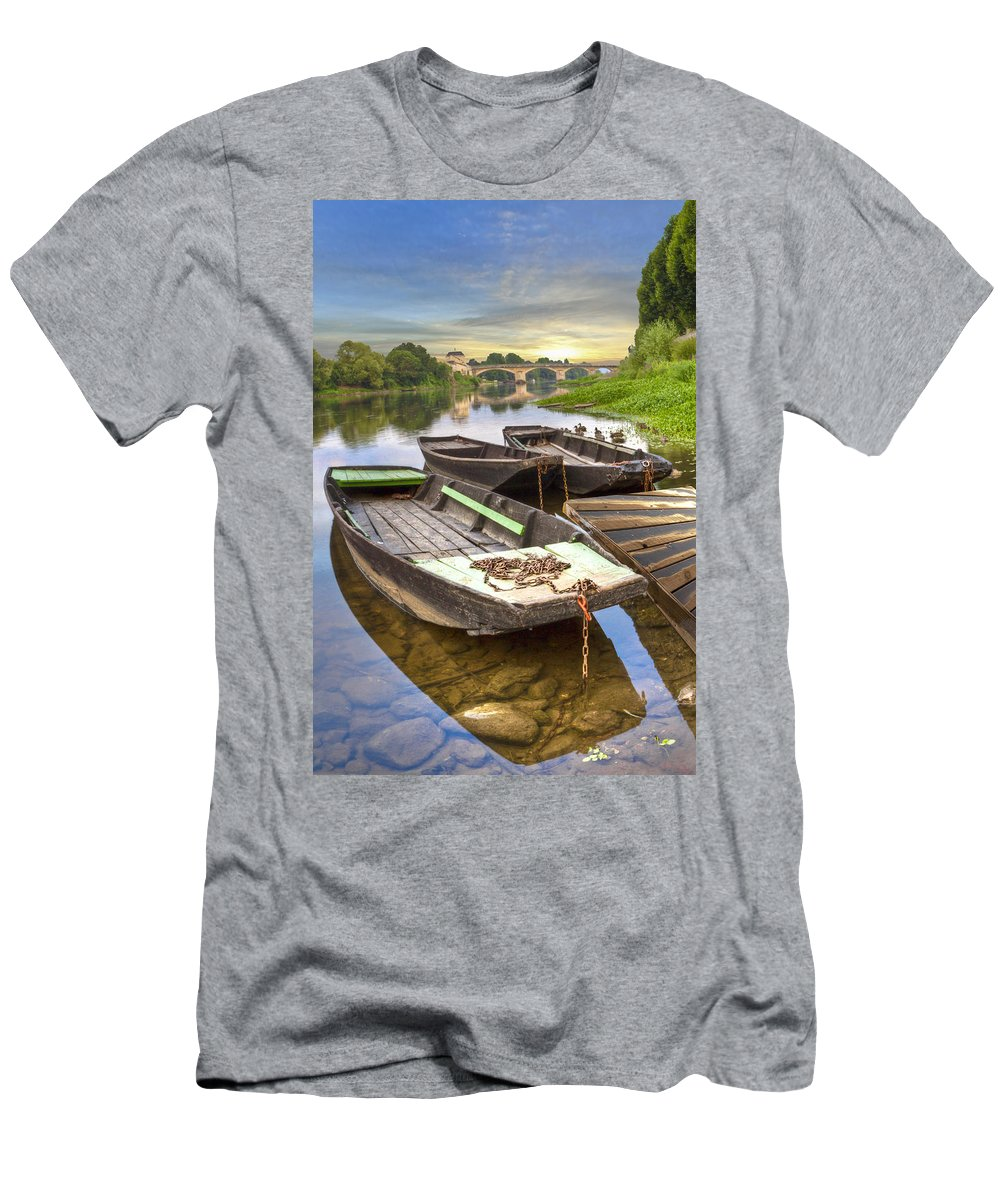 Austria Men's T-Shirt (Athletic Fit) featuring the photograph Rowboats On The French Canals by Debra and Dave Vanderlaan