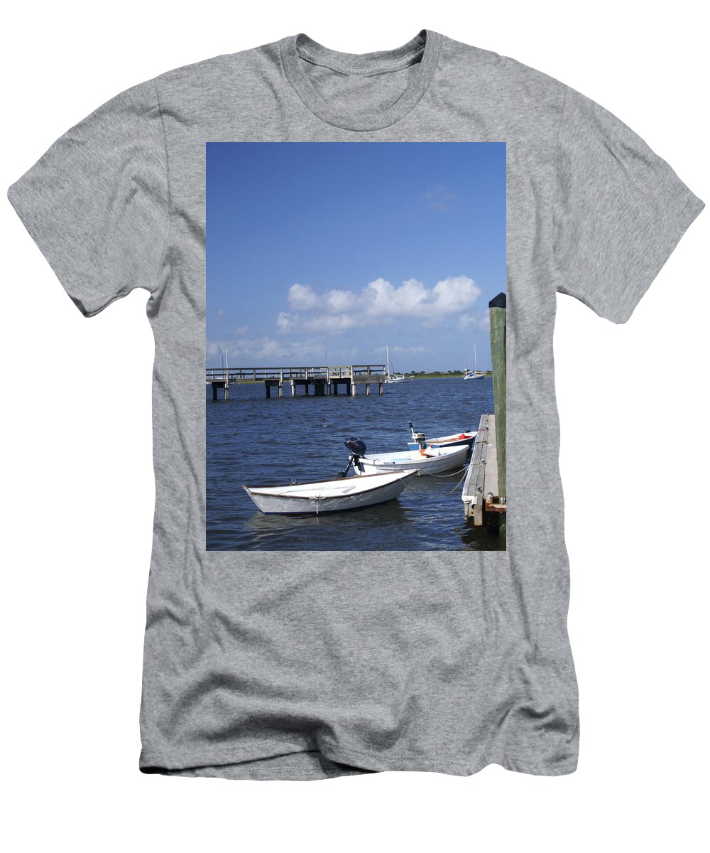 Boats Tied To Dock Men's T-Shirt (Athletic Fit) featuring the photograph Rowboats Tied To Dock by Bob Pardue