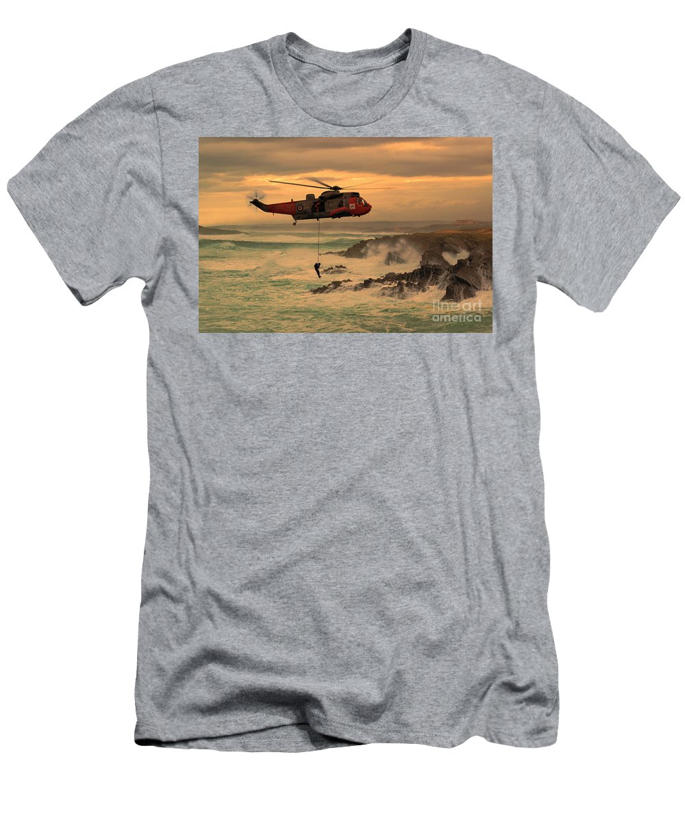 Seaking Men's T-Shirt (Athletic Fit) featuring the digital art Royal Navy Rescue by J Biggadike