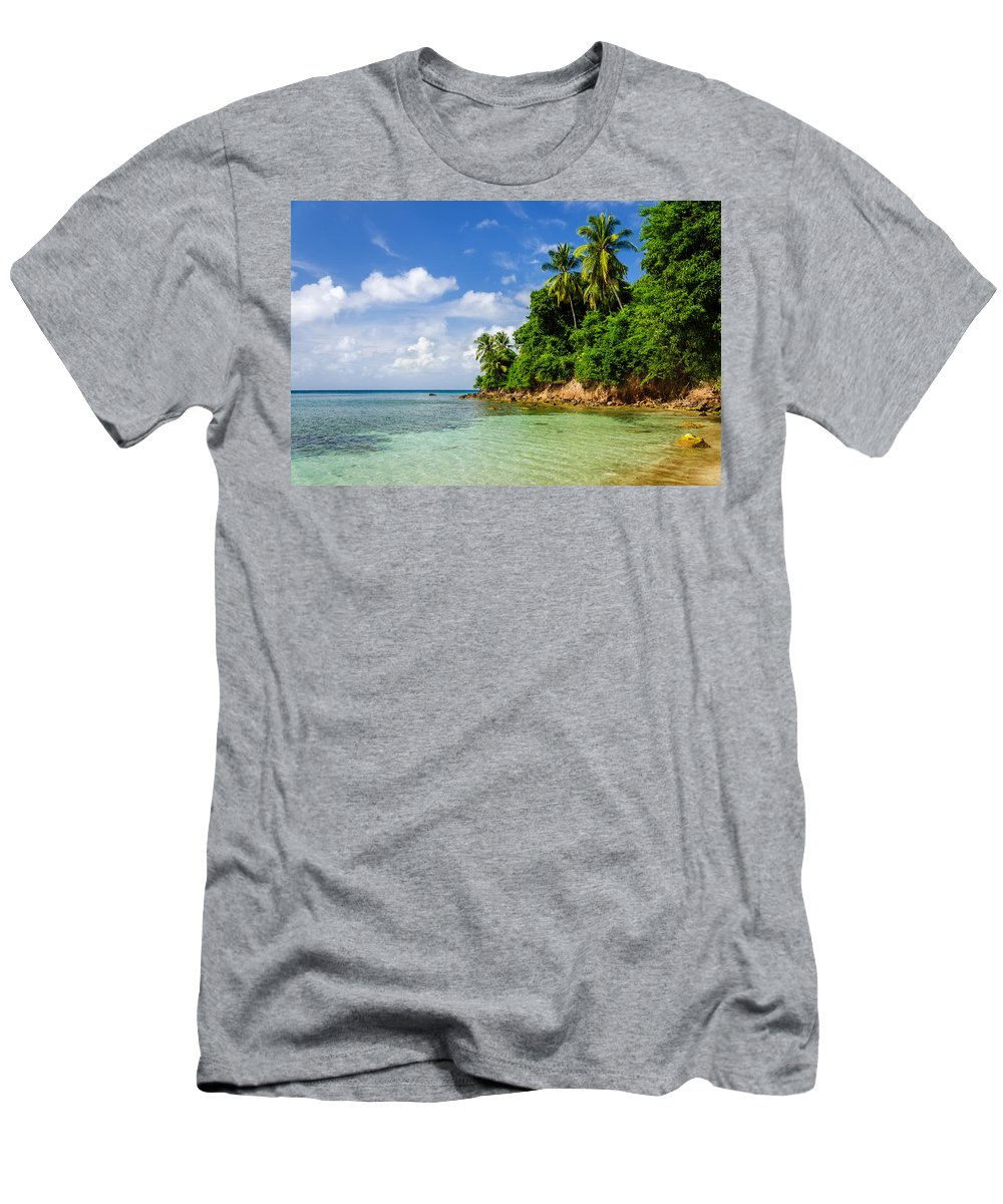 Bay Men's T-Shirt (Athletic Fit) featuring the photograph Rugged Lush Green Coastline by Jess Kraft
