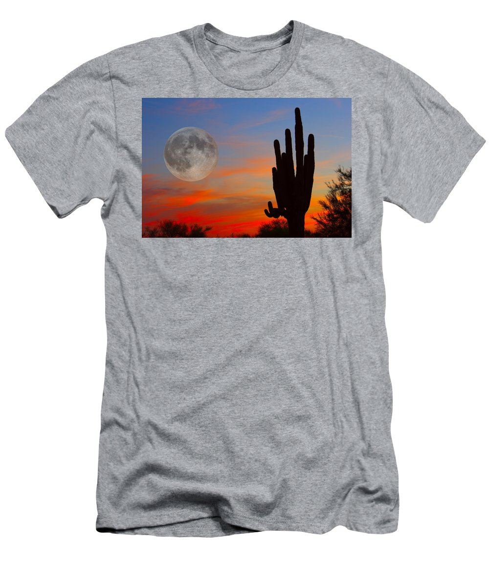 Sunrise Men's T-Shirt (Athletic Fit) featuring the photograph Saguaro Full Moon Sunset by James BO Insogna