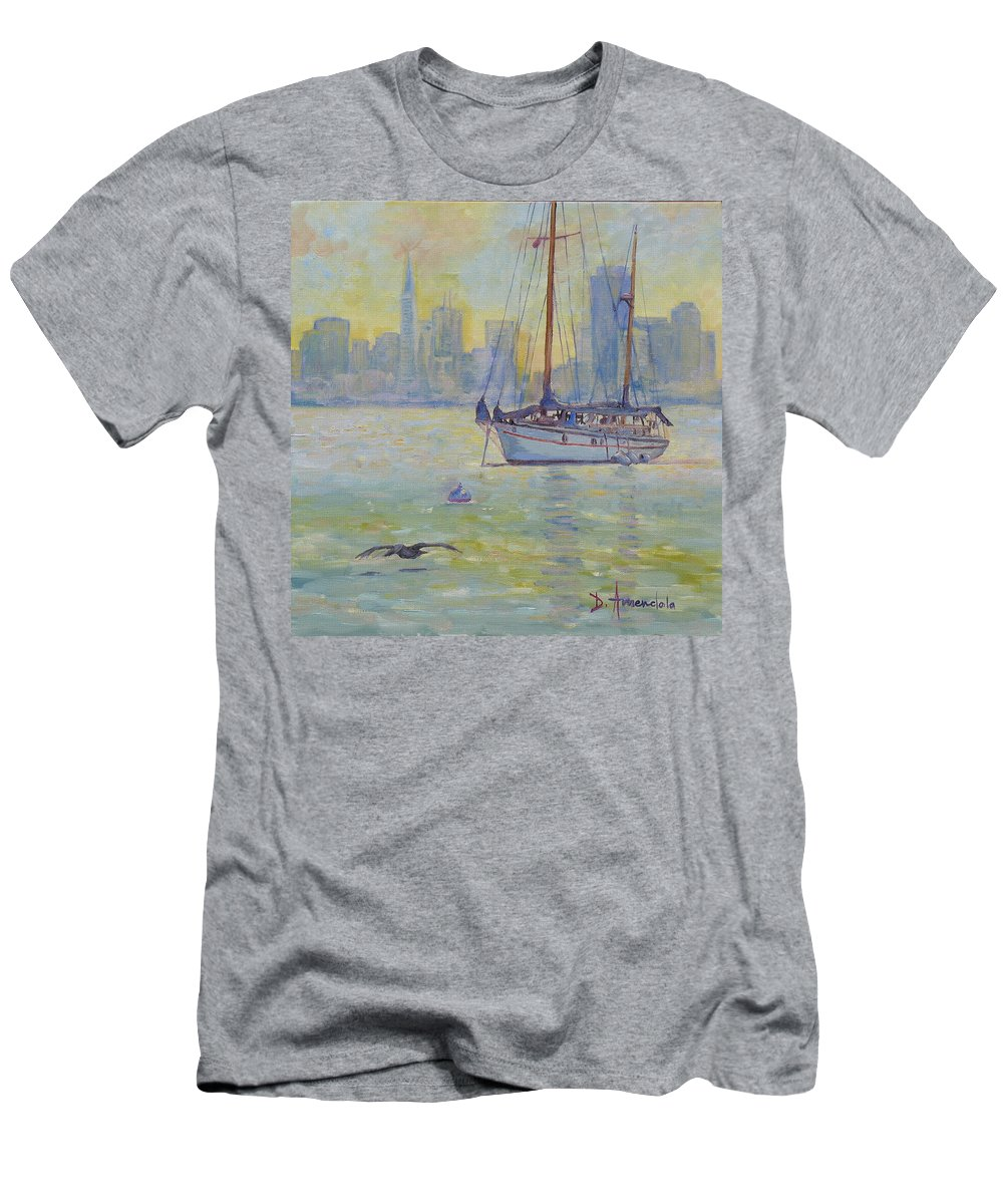Dominique Amendola Men's T-Shirt (Athletic Fit) featuring the painting Sailboat Anchored At Sunset by Dominique Amendola