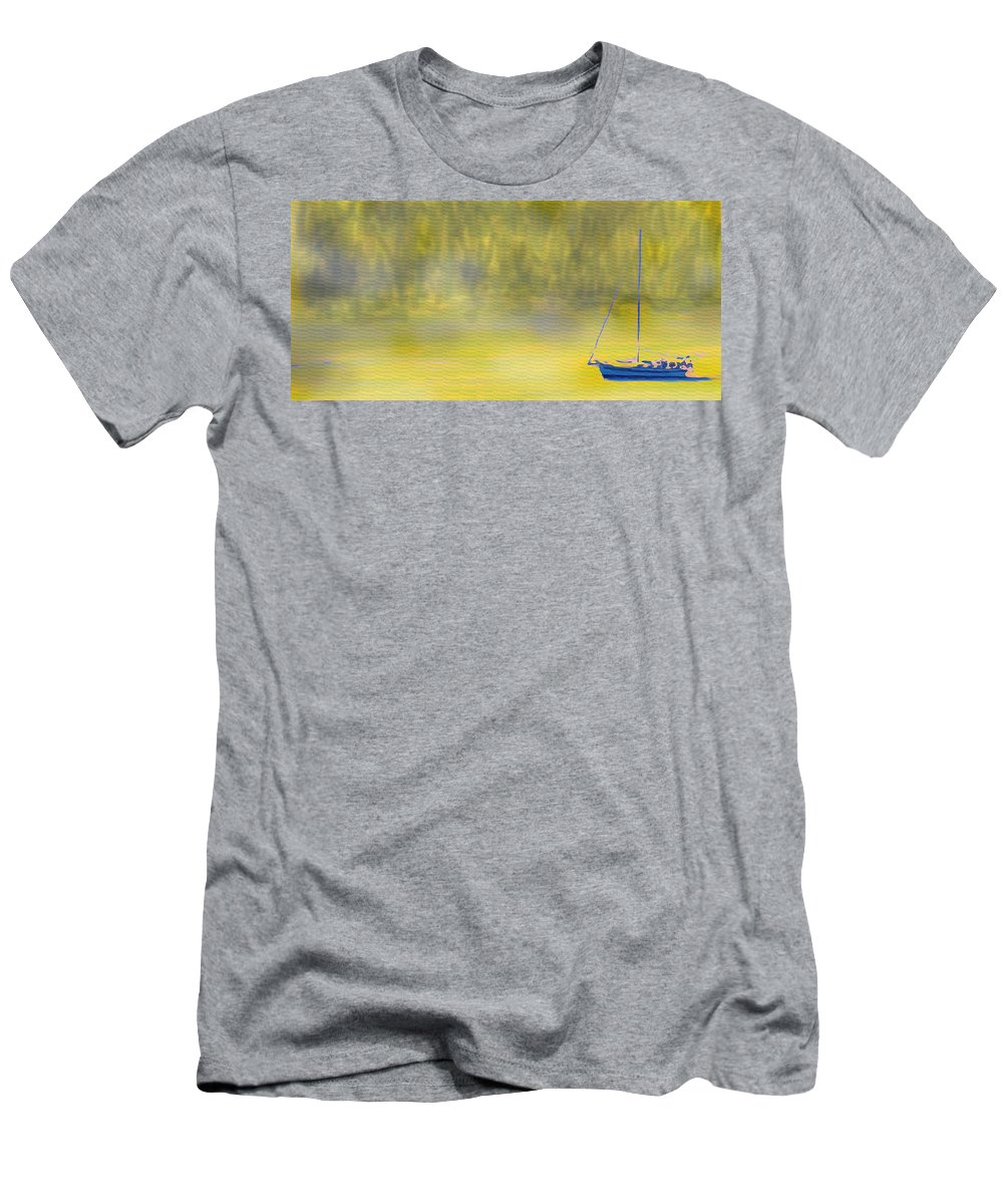 Sailboat Men's T-Shirt (Athletic Fit) featuring the digital art Sailboat On A Yellow Sea by Ian MacDonald