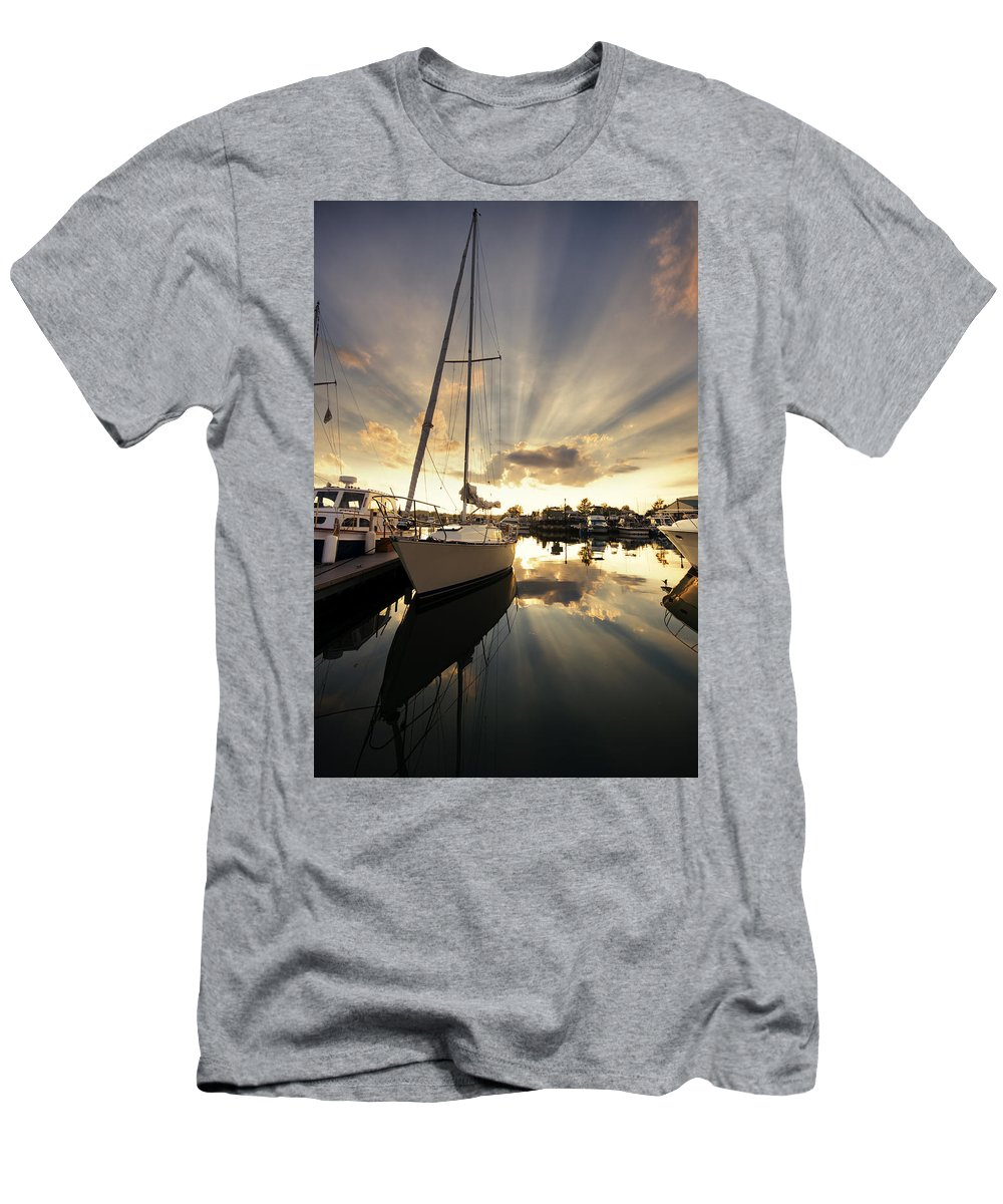 Sailboat Men's T-Shirt (Athletic Fit) featuring the photograph Sailed In by Alexey Stiop
