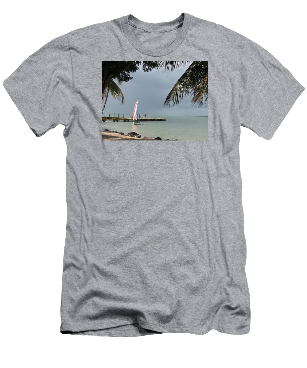 Sailing Boat Men's T-Shirt (Athletic Fit) featuring the photograph Sailing Key Largo by Christiane Schulze Art And Photography