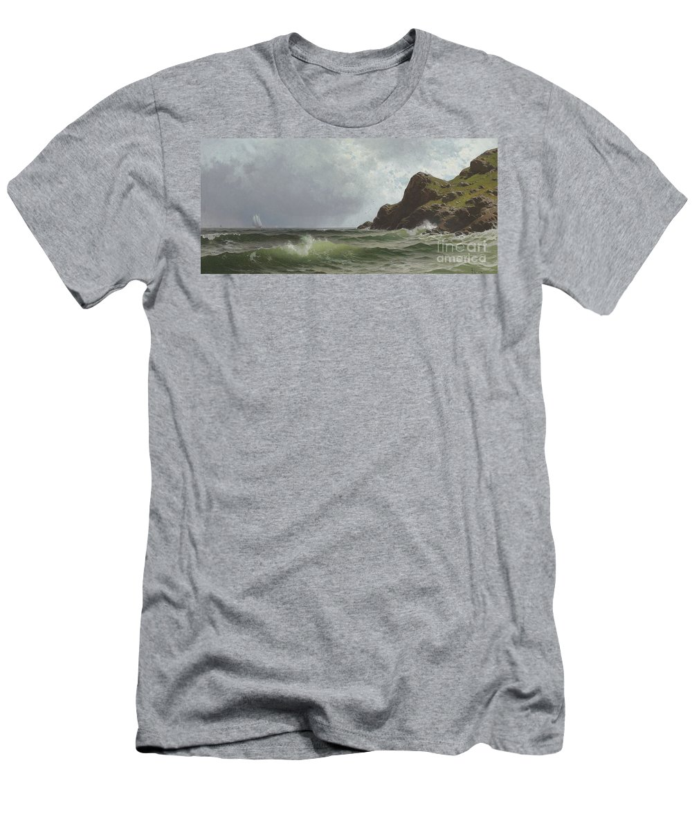 Sailing; Transport; Travel; Boat; Coast; Coastal; Rugged; Choppy; Stormy; Seascape; Green; Waves; Coastline; Shore; Rocky; Foam; 19th; 20th Men's T-Shirt (Athletic Fit) featuring the painting Sailing Off The Coast by Alfred Thompson Bricher