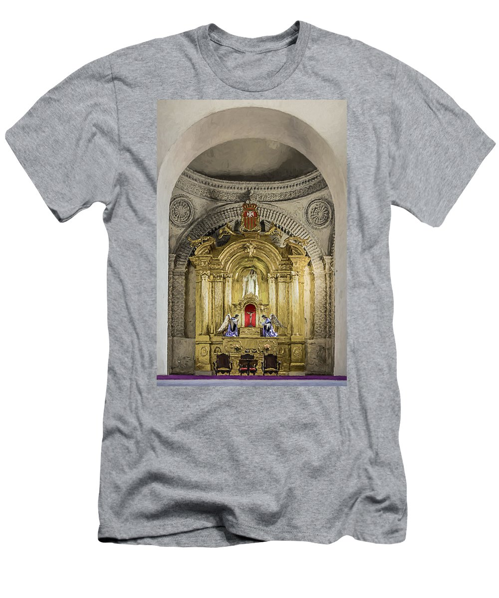 Altar Men's T-Shirt (Athletic Fit) featuring the photograph Saint Joseph Cathedral by Maria Coulson