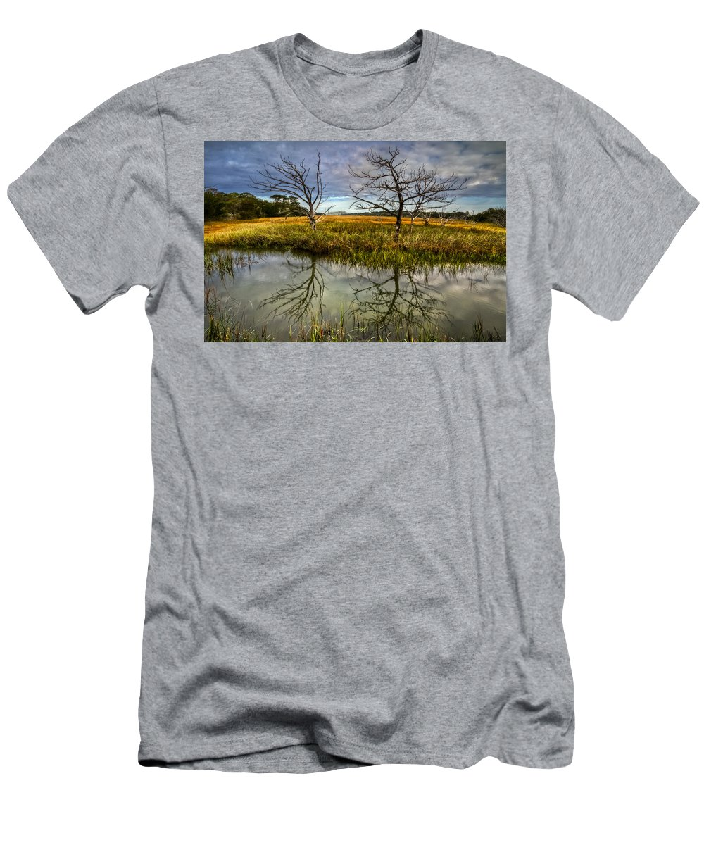 Clouds Men's T-Shirt (Athletic Fit) featuring the photograph Salty Marsh At Jekyll Island by Debra and Dave Vanderlaan