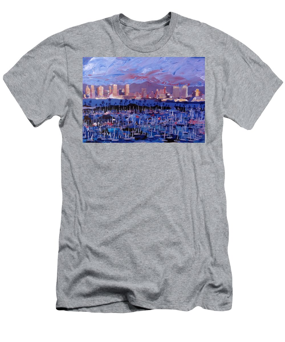 San Diego Men's T-Shirt (Athletic Fit) featuring the painting San Diego Skyline With Marina At Dusk by M Bleichner