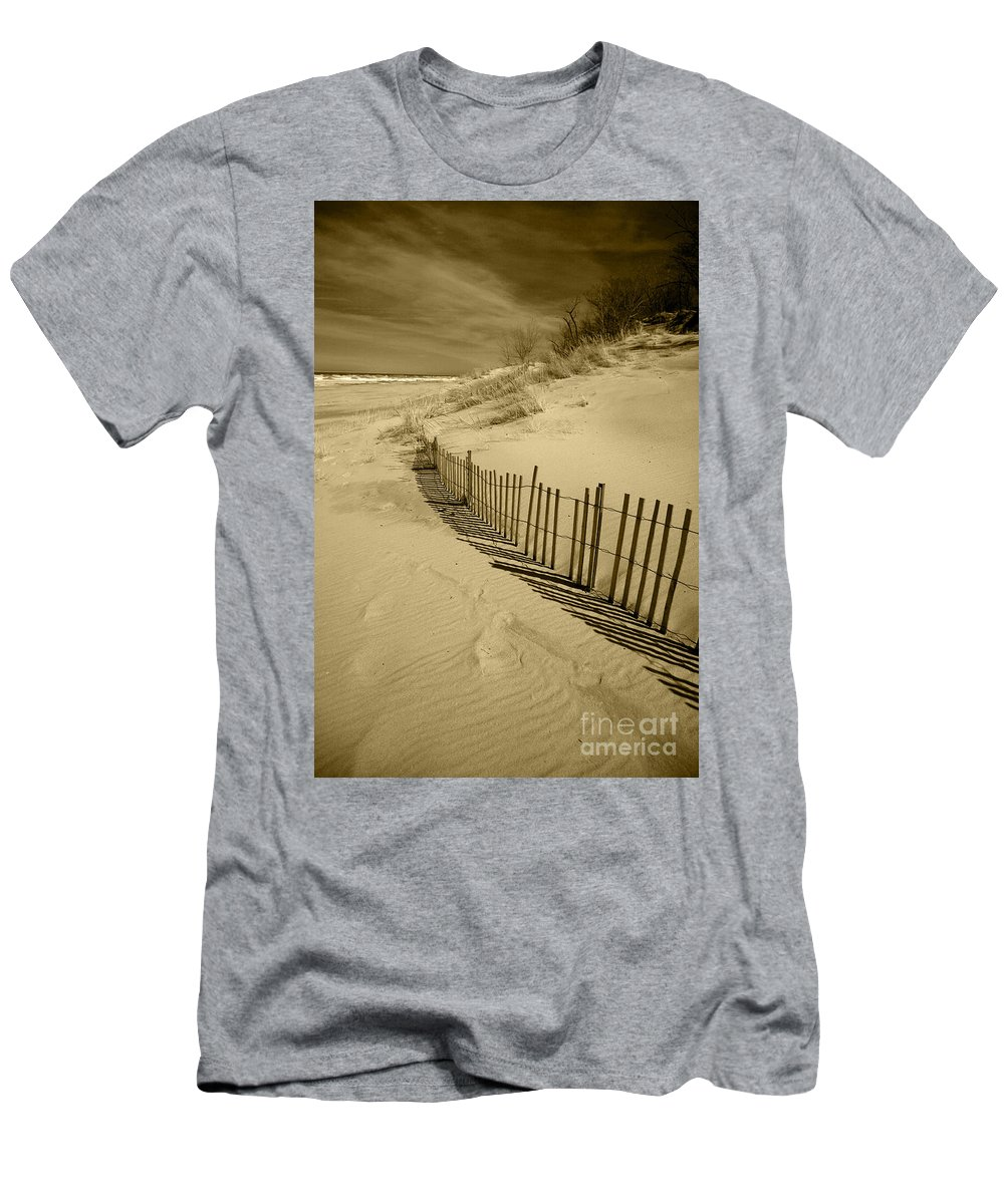 Sand Dunes Men's T-Shirt (Athletic Fit) featuring the photograph Sand Dunes And Fence by Timothy Johnson