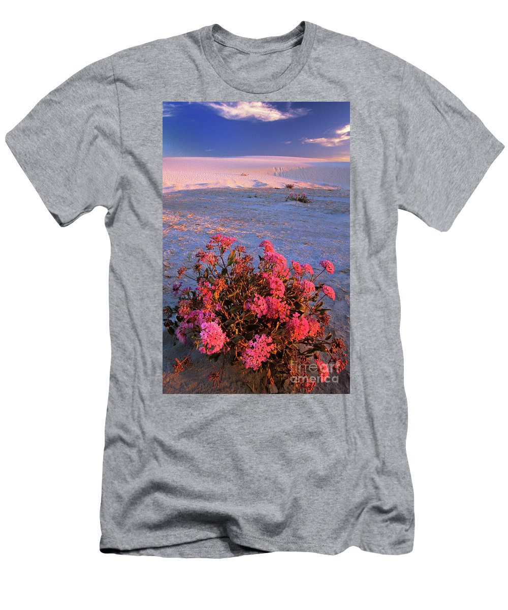 North America Men's T-Shirt (Athletic Fit) featuring the photograph Sand Verbenas At Sunset White Sands National Monument by Dave Welling