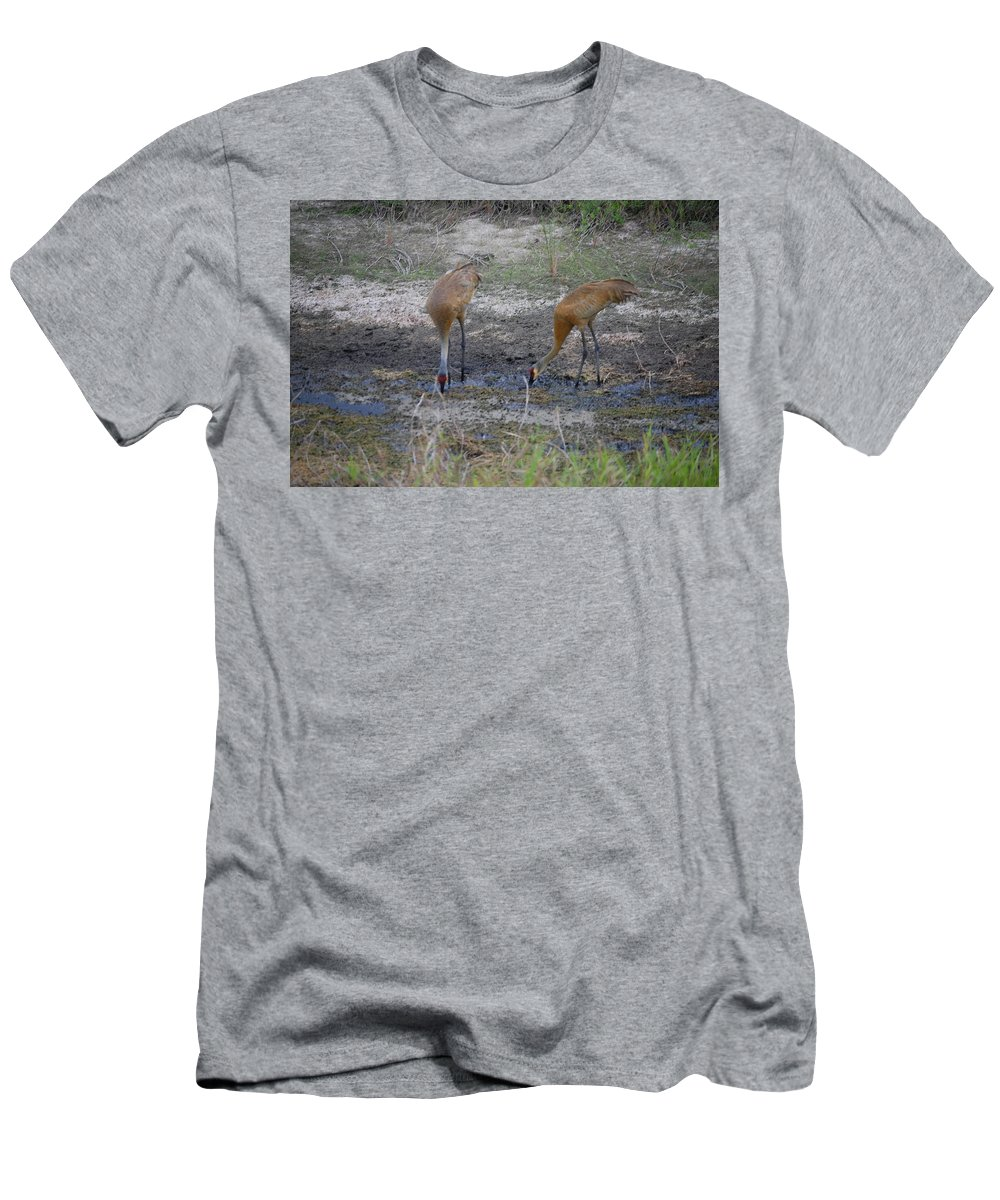 Feeding Men's T-Shirt (Athletic Fit) featuring the photograph Sandhill Stork by Robert Floyd