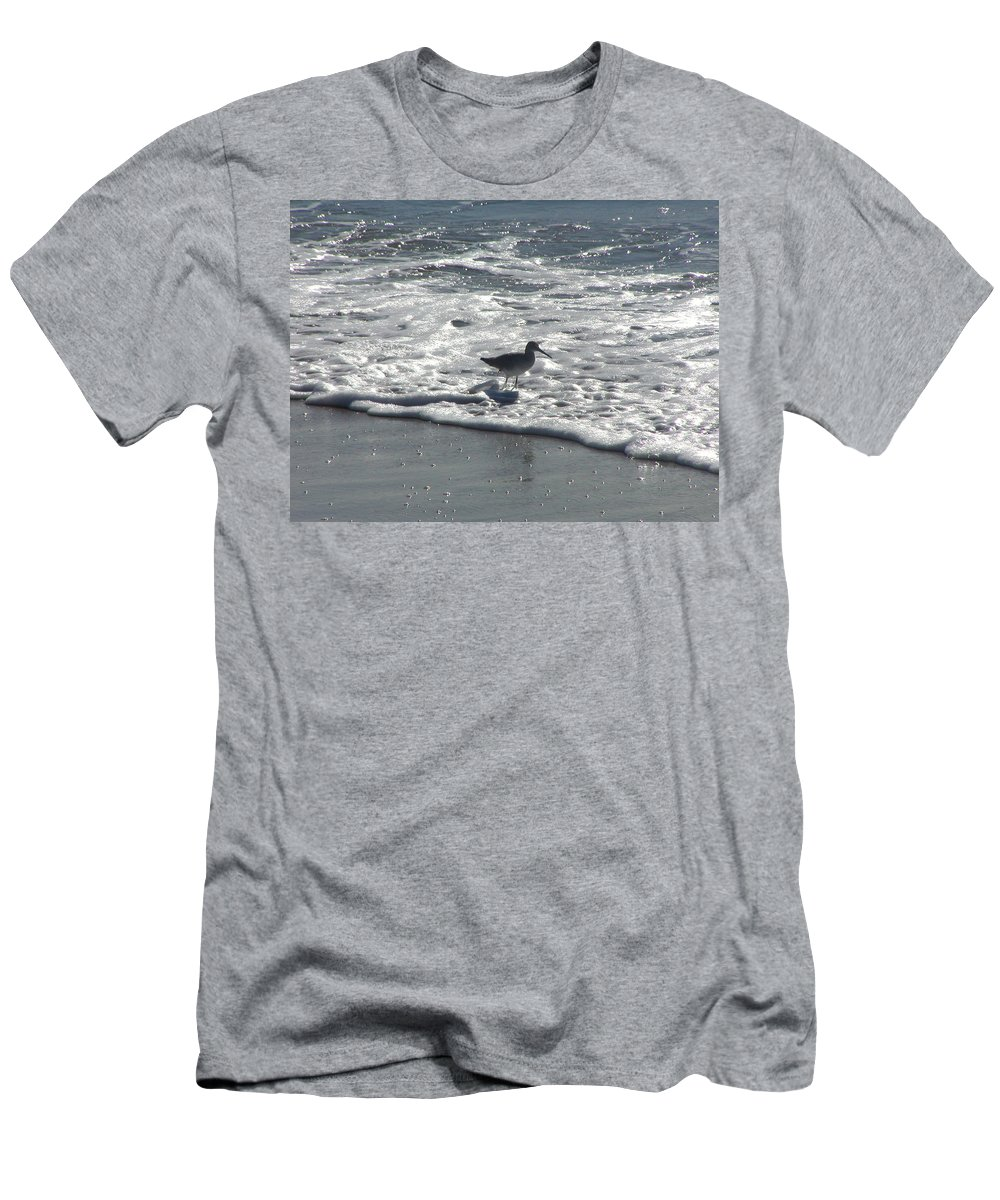 Bird Men's T-Shirt (Athletic Fit) featuring the photograph Sandpiper In The Surf by Jussta Jussta