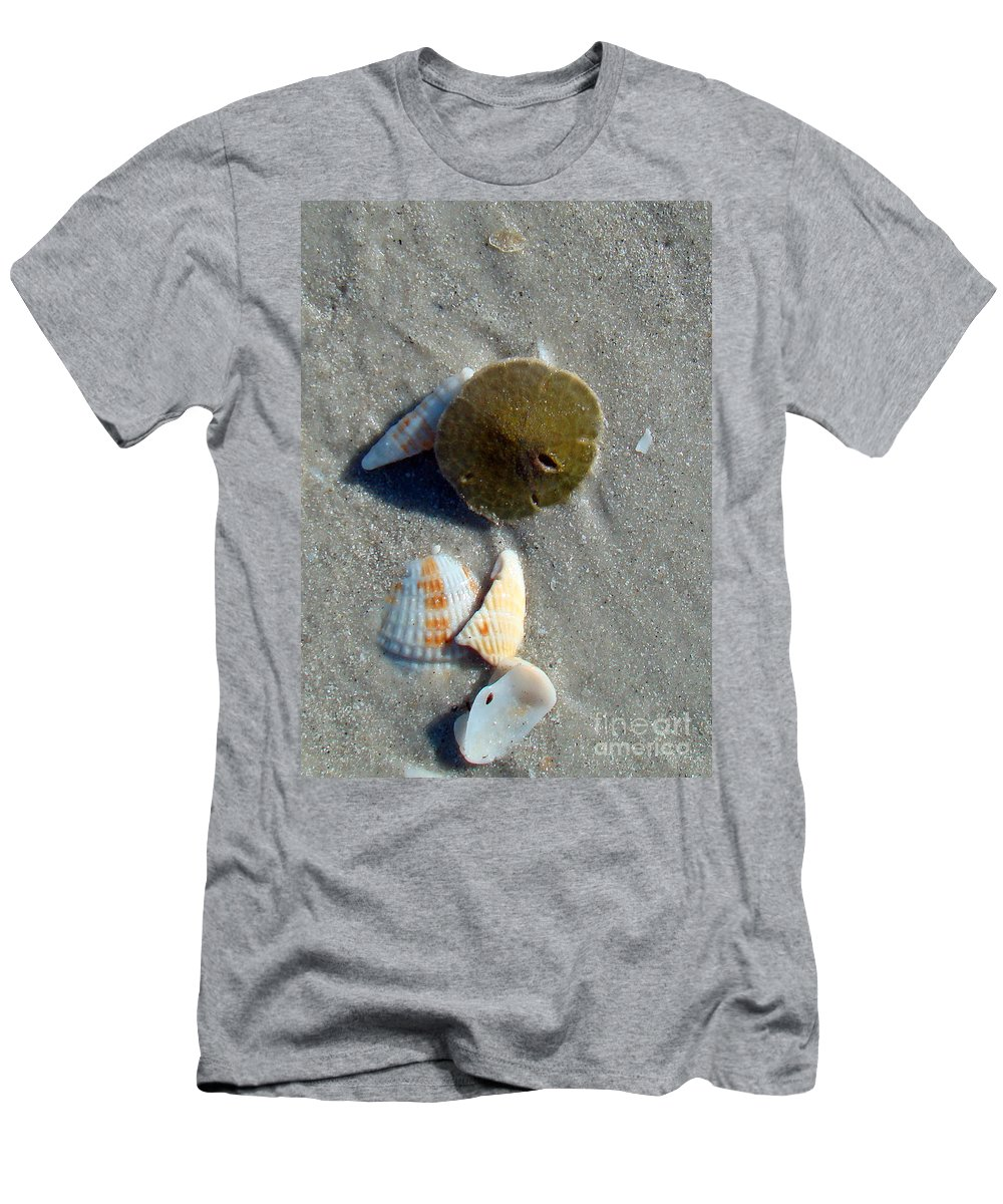 Sand Dollar Men's T-Shirt (Athletic Fit) featuring the photograph Sanibel Sand Dollar 1 by Nancy L Marshall