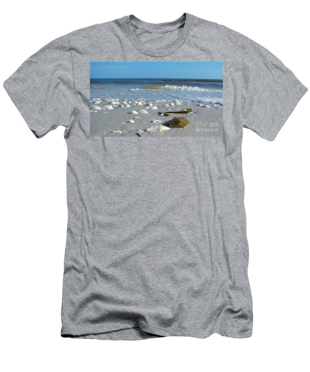 Sand Dollar Men's T-Shirt (Athletic Fit) featuring the photograph Sanibel Sand Dollar 2 by Nancy L Marshall