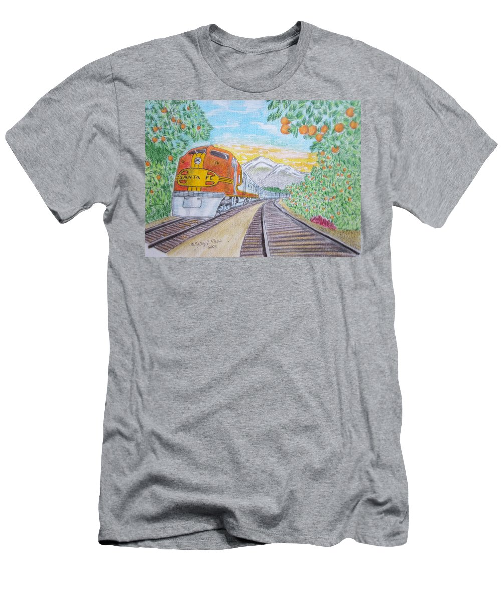Santa Fe Men's T-Shirt (Athletic Fit) featuring the painting Santa Fe Super Chief Train by Kathy Marrs Chandler