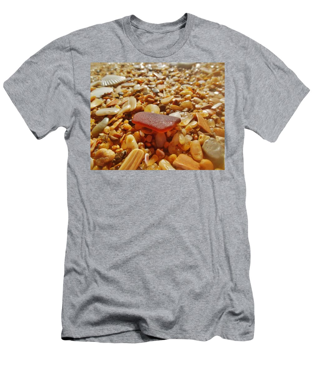 Mark Lemmon Cape Hatteras Nc The Outer Banks Photographer Subjects From Sunrise Men's T-Shirt (Athletic Fit) featuring the photograph Sea Glass And Shells 3 10/13 by Mark Lemmon