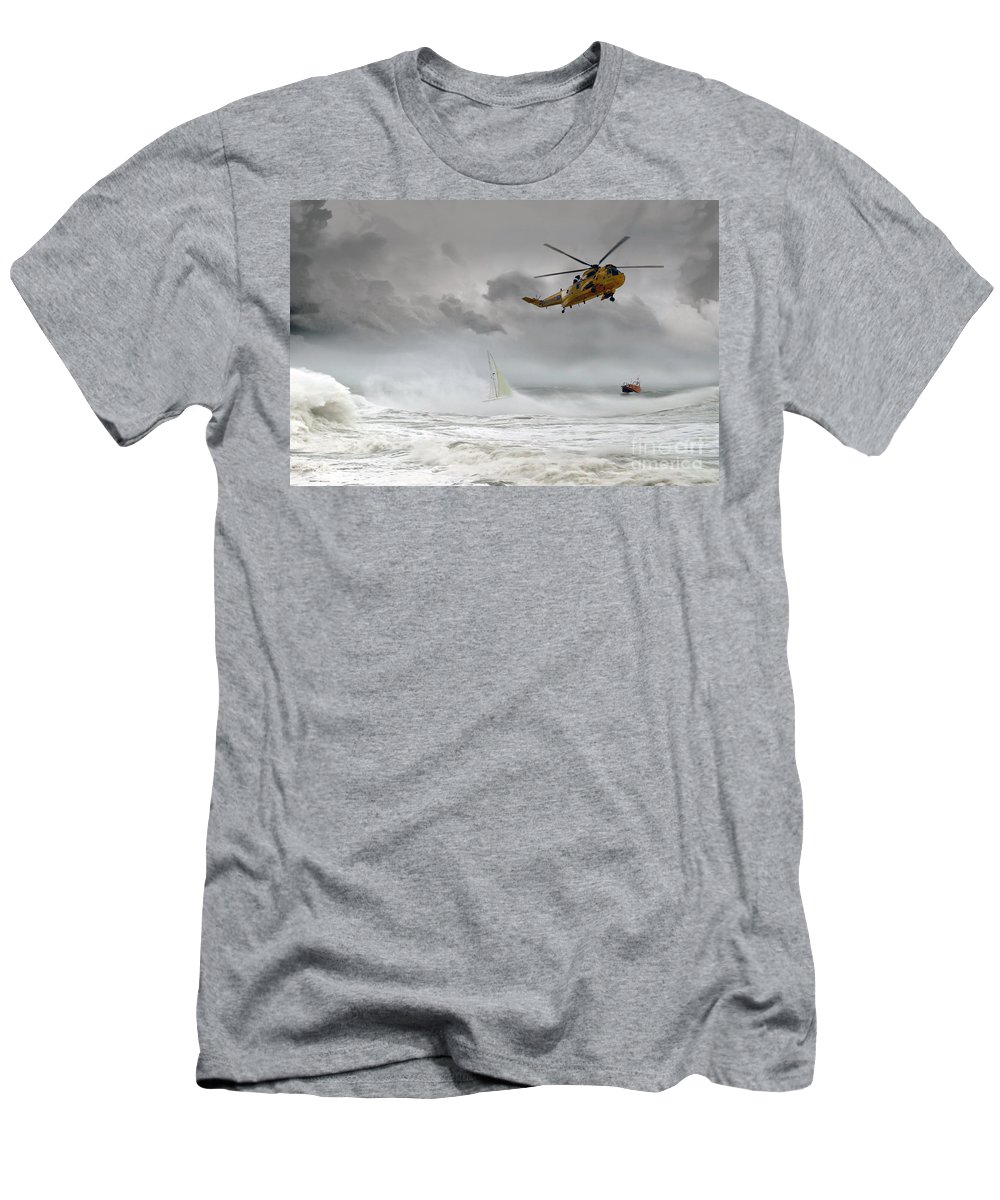 Sea King Men's T-Shirt (Athletic Fit) featuring the digital art Search And Rescue by J Biggadike