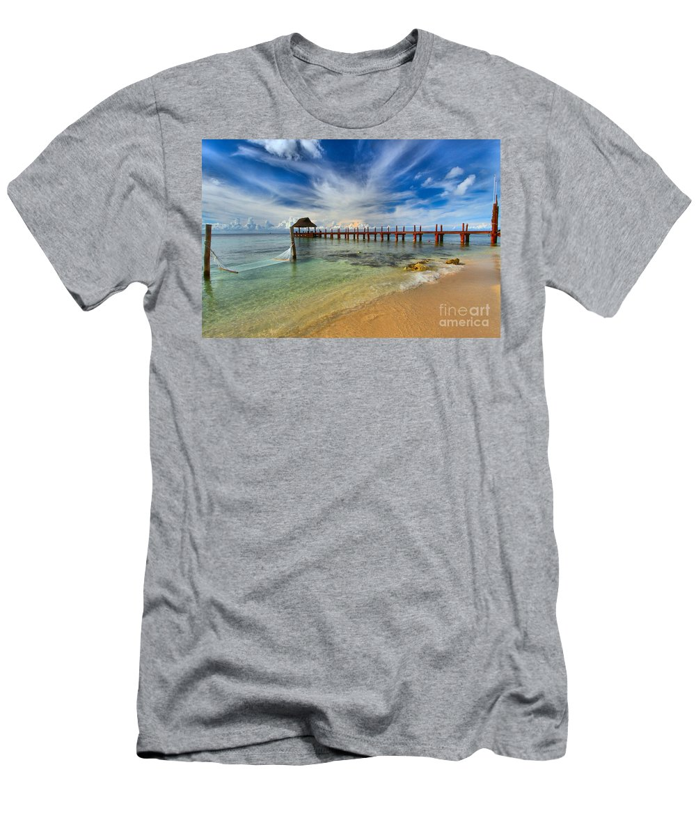 Caribbean Ocean Men's T-Shirt (Athletic Fit) featuring the photograph Secrets Aura Pier by Adam Jewell