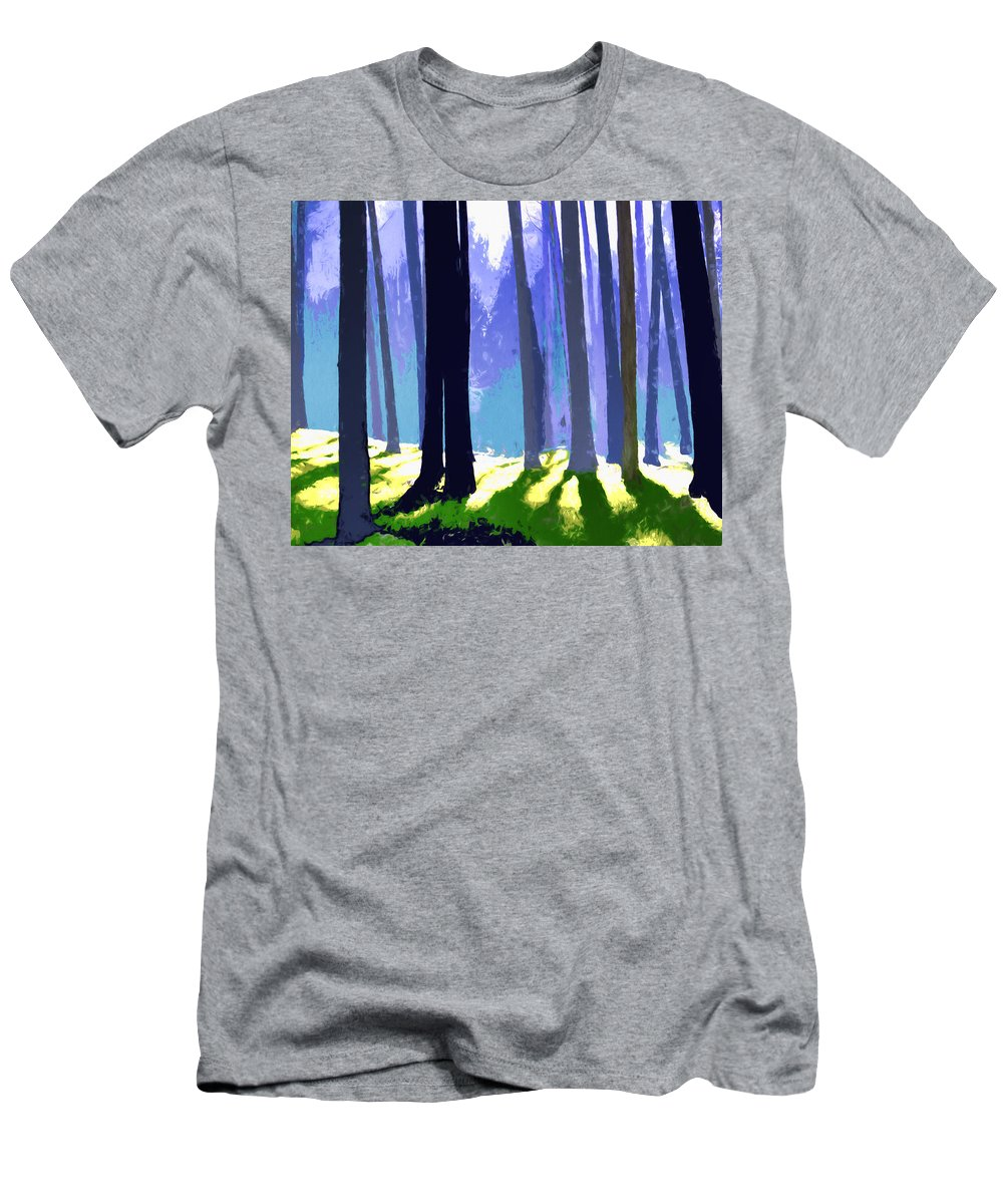 Trees Forest Trunks Sunlight Abstract Landscape Surreal Shadows Men's T-Shirt (Athletic Fit) featuring the painting See The Forest For The Trees by Elaine Plesser