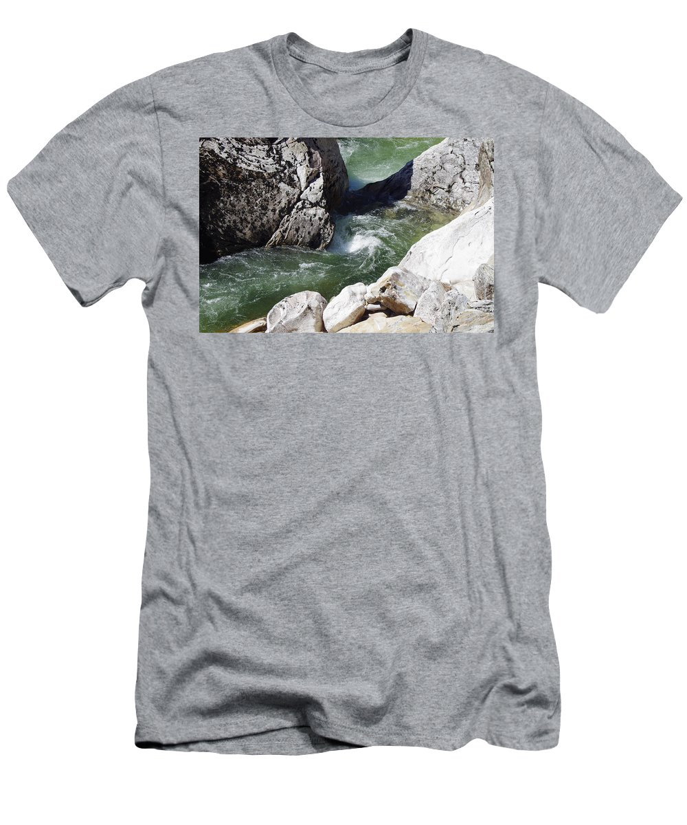 Water Falls Men's T-Shirt (Athletic Fit) featuring the photograph Selway Falls Bowl by Mike Wheeler