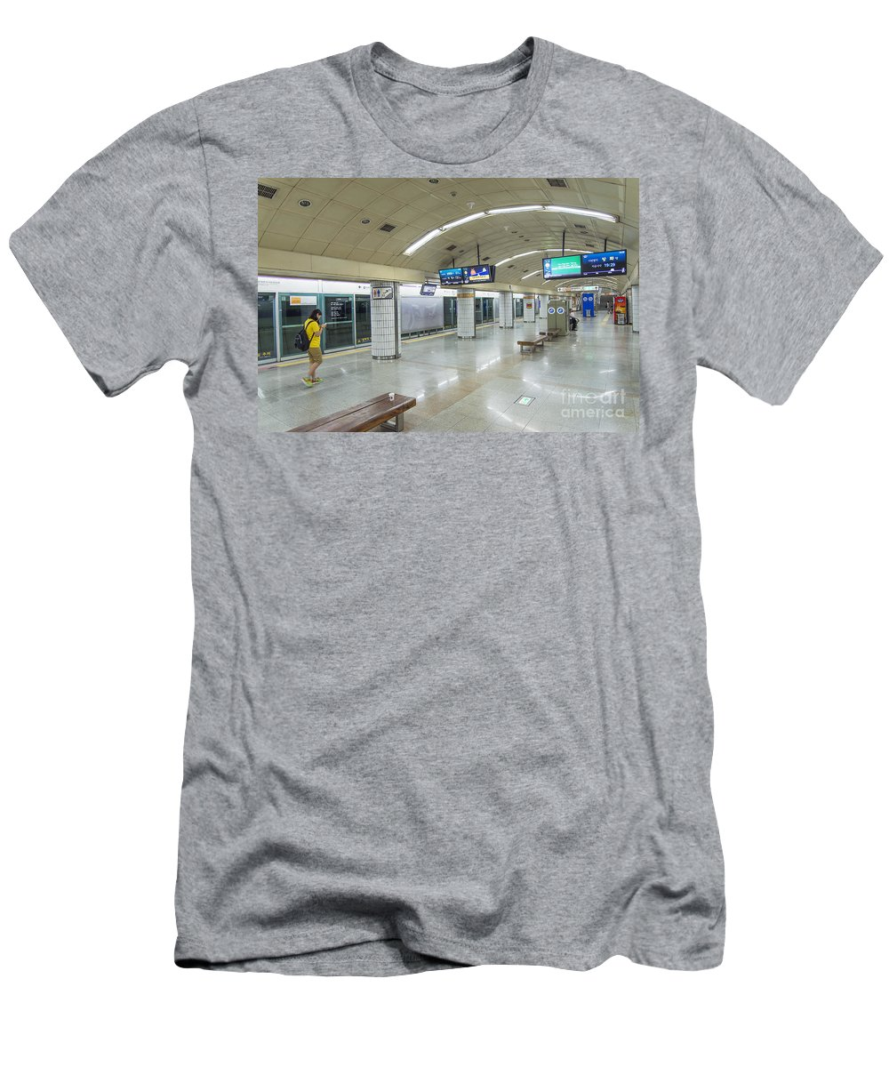 Asia Men's T-Shirt (Athletic Fit) featuring the photograph Seoul Metro Station In South Korea by Jacek Malipan