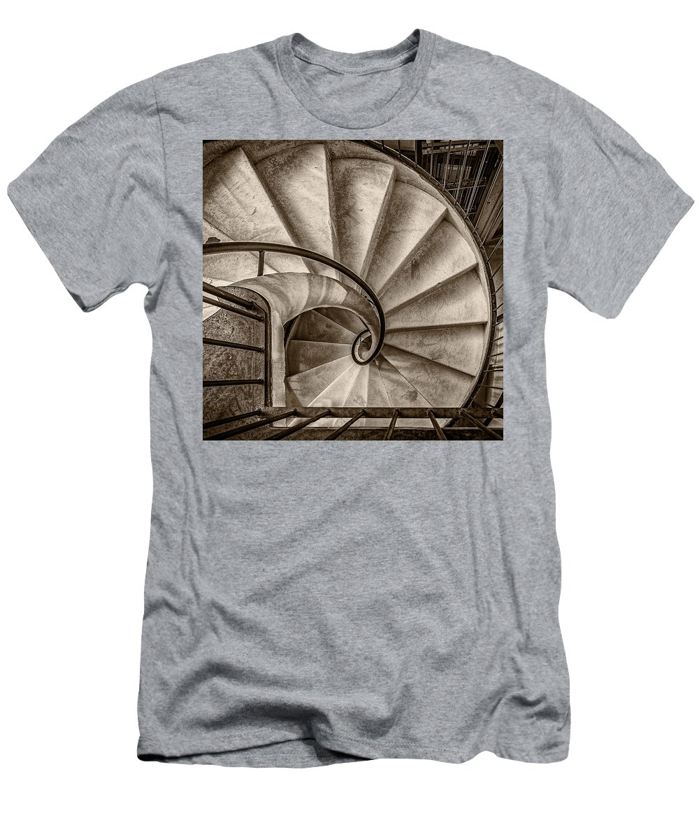 1:1 Men's T-Shirt (Athletic Fit) featuring the photograph Sepia Spiral Staircase by Roberto Pagani