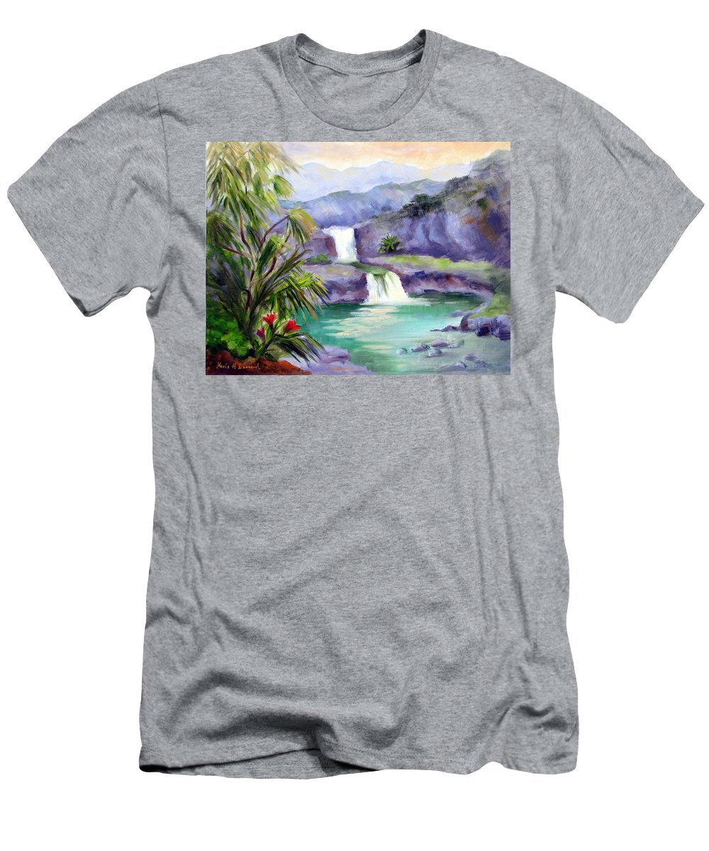 Hawaii Men's T-Shirt (Athletic Fit) featuring the painting Seven Sacred Pools by Karin Leonard