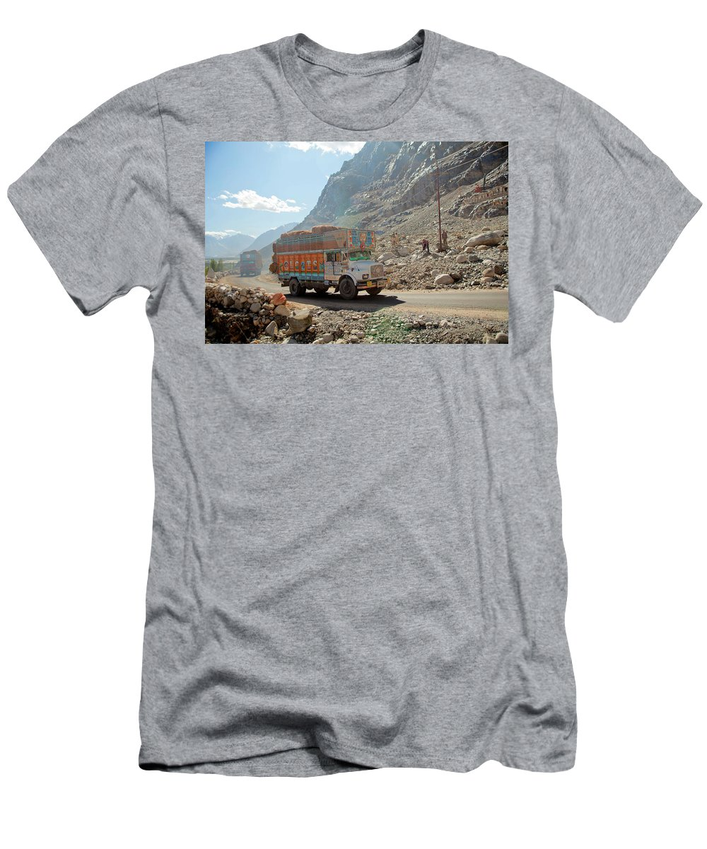 Adventure Men's T-Shirt (Athletic Fit) featuring the photograph Several Trucks Carrying Bales Of Hay by Kevin Kerr