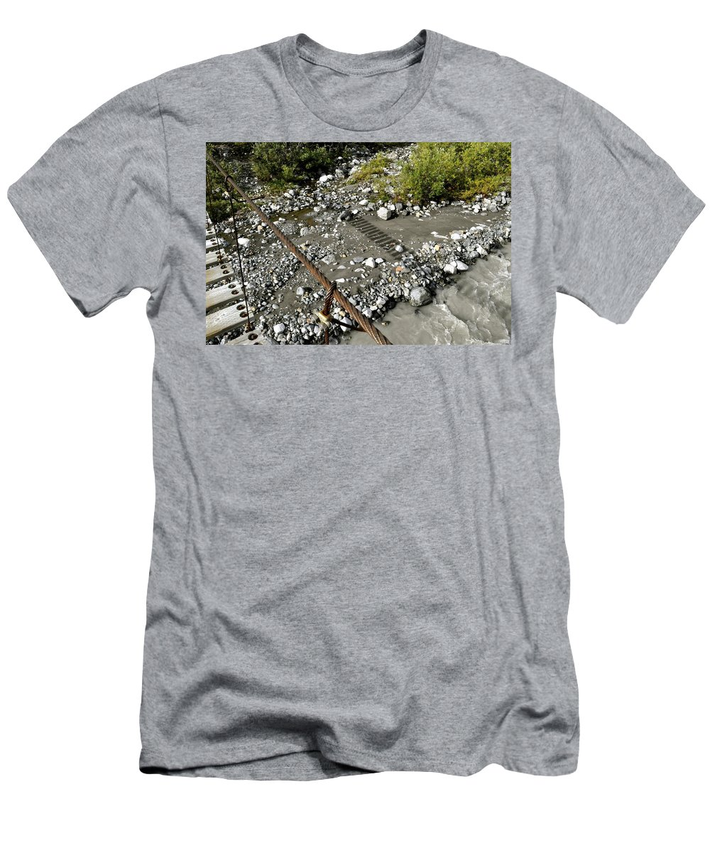 Suspended Men's T-Shirt (Athletic Fit) featuring the photograph Shadow Bridge by Cathy Mahnke