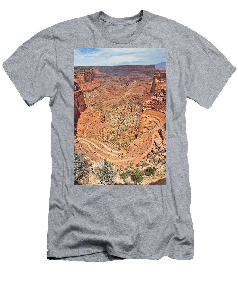 3scape Men's T-Shirt (Athletic Fit) featuring the photograph Shafer Trail by Adam Romanowicz