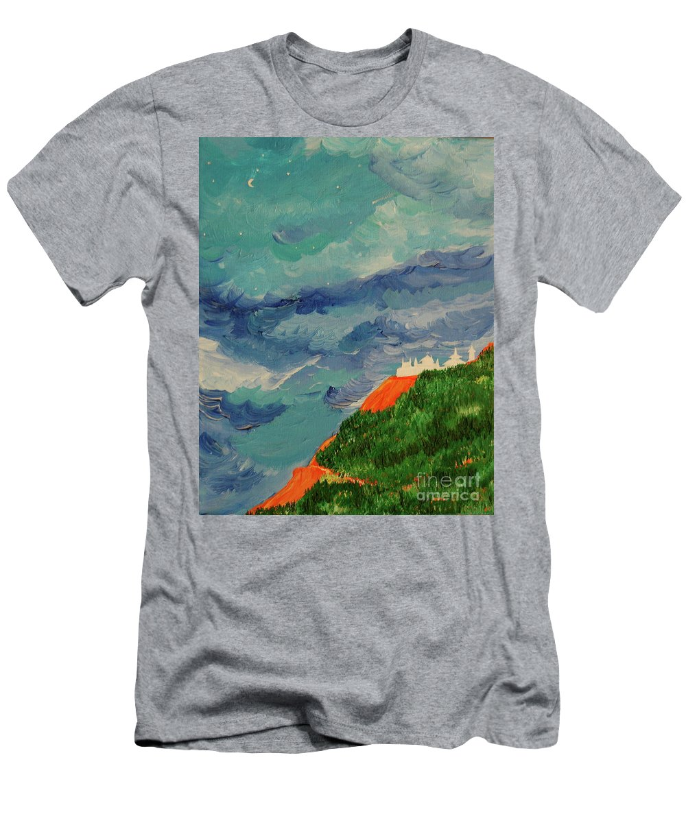 Landscape Men's T-Shirt (Athletic Fit) featuring the painting Shangri-la by First Star Art