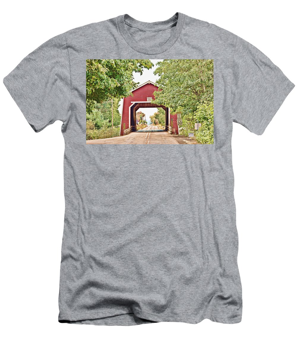 Covered Bridge Men's T-Shirt (Athletic Fit) featuring the photograph Shimanek Covered Bridge by Scott Pellegrin