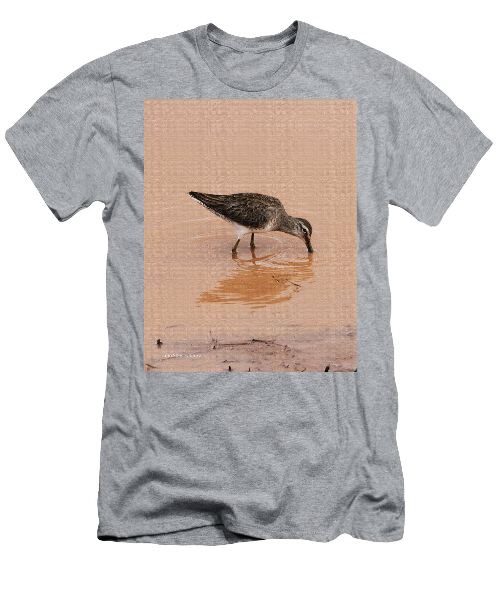 Shore Bird At Whitewater Draw Men's T-Shirt (Athletic Fit) featuring the photograph Shore Bird At Whitewater Draw by Tom Janca