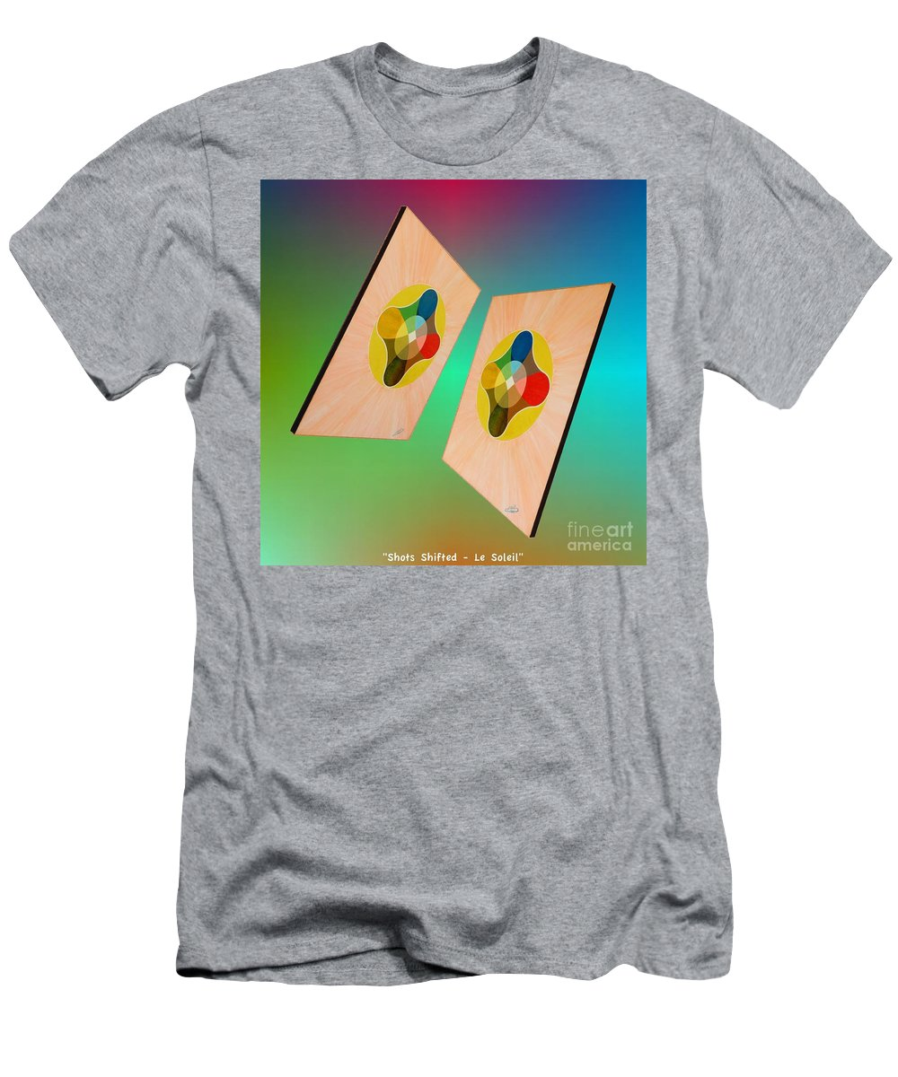 Shots Men's T-Shirt (Athletic Fit) featuring the painting Shots Shifted - Le Soleil 7 by Michael Bellon