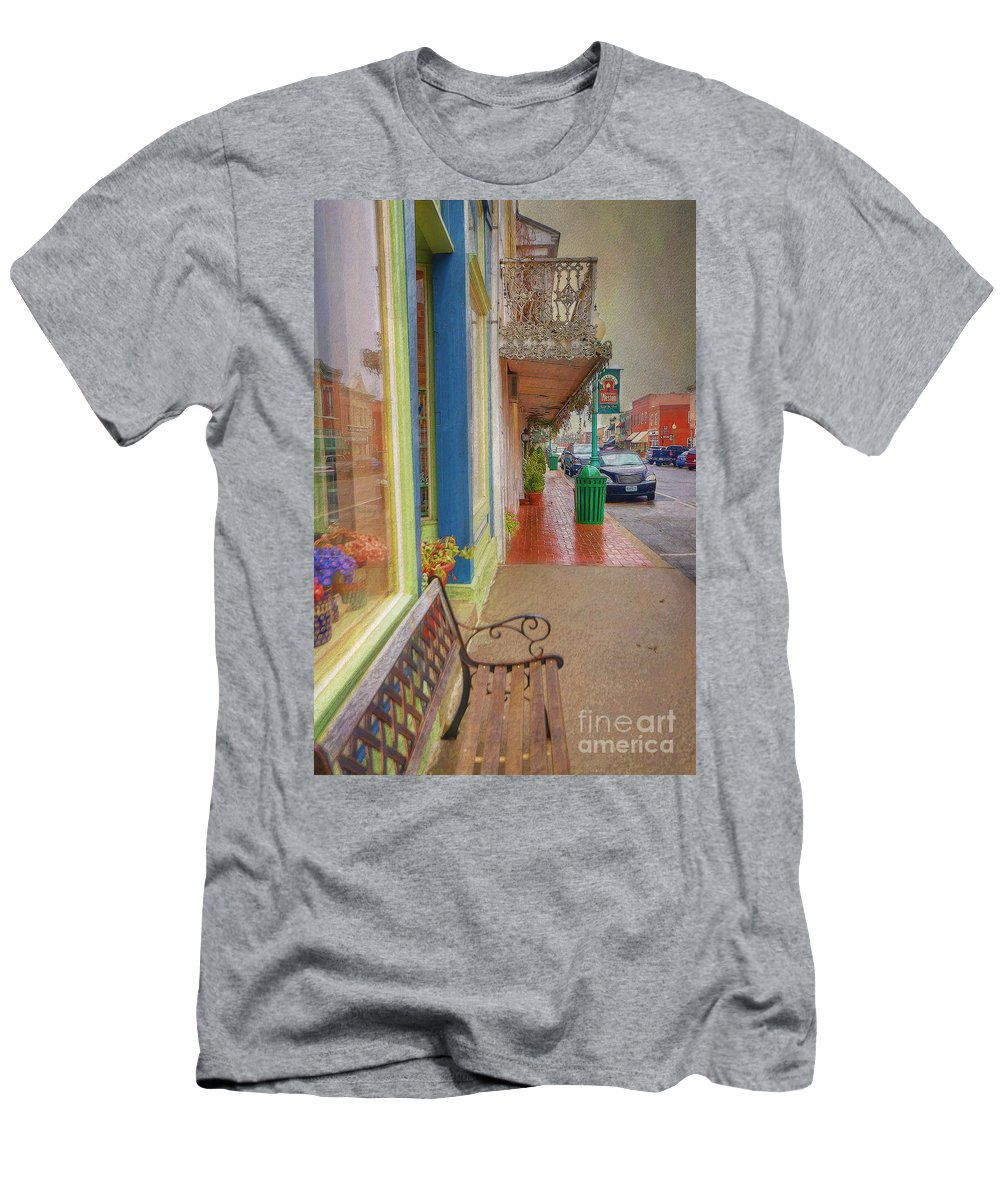 City Men's T-Shirt (Athletic Fit) featuring the photograph Sidewalk Shot Weston Missouri by Liane Wright