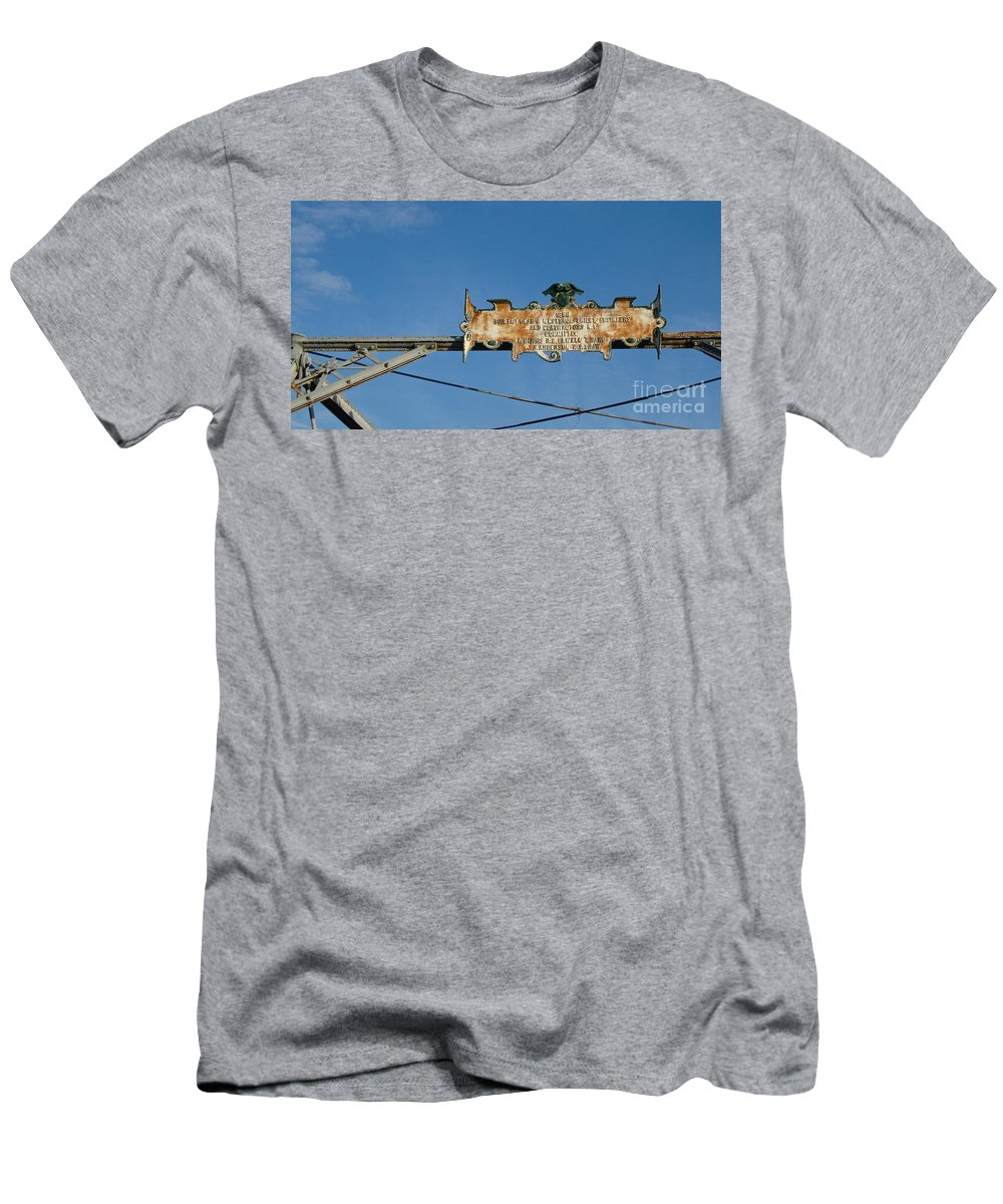 Bridge Sign Men's T-Shirt (Athletic Fit) featuring the photograph Sign From The Past by Nancy Patterson