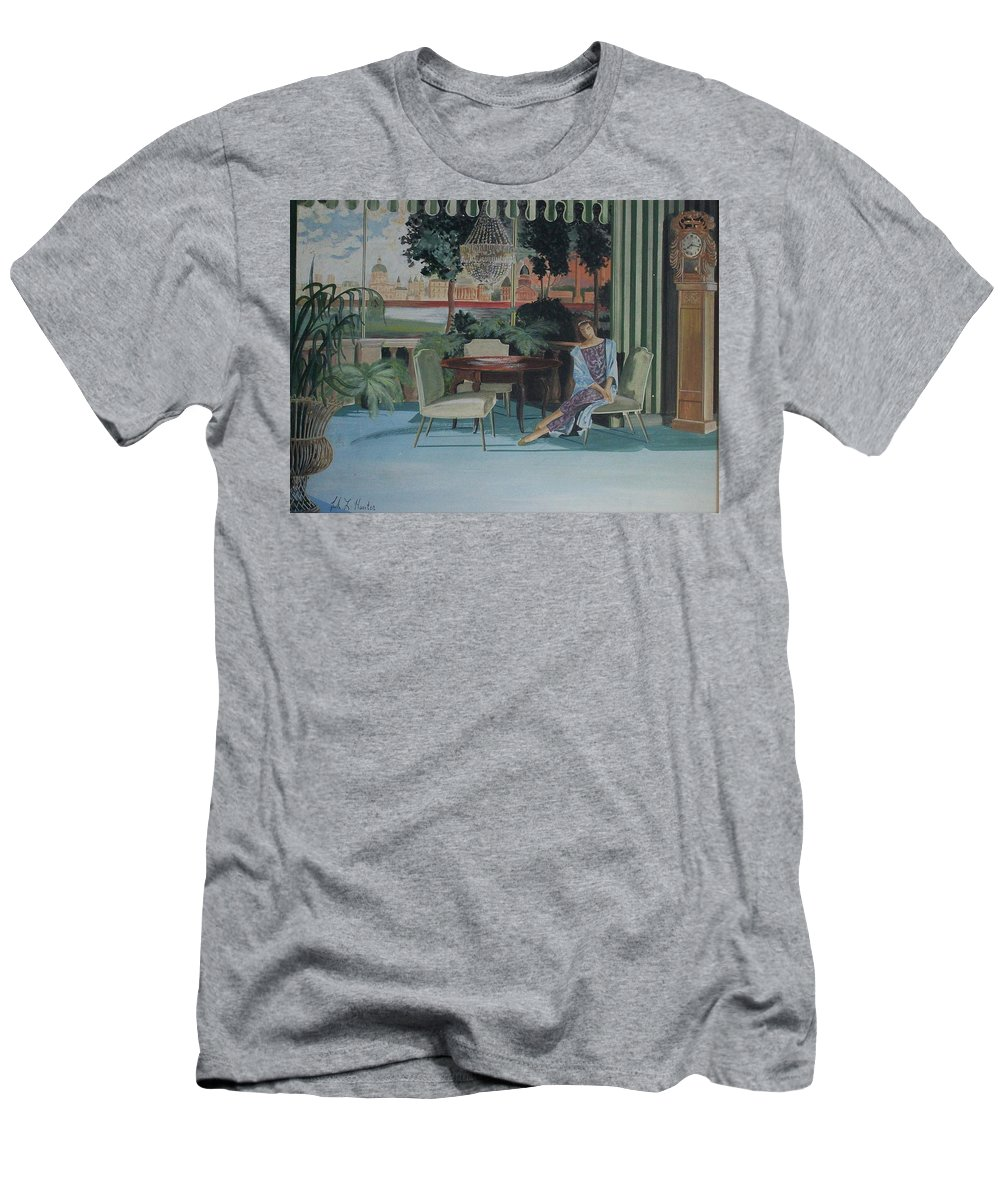 Living Room Men's T-Shirt (Athletic Fit) featuring the painting Signora Italiano by Frank Hunter