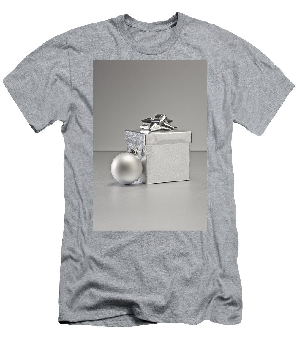 New Men's T-Shirt (Athletic Fit) featuring the photograph Silver Bauble And Present by U Schade