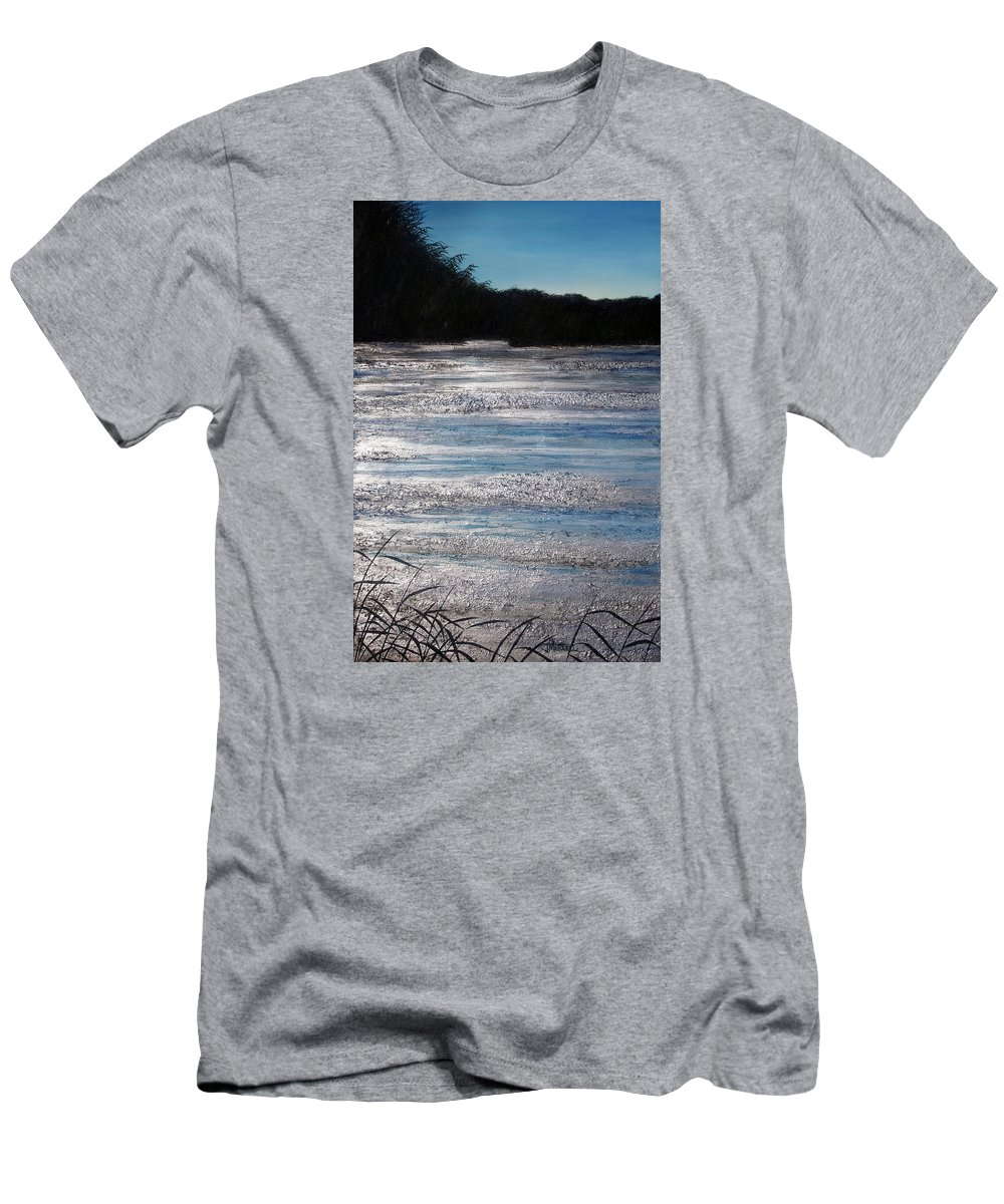 Marsh Men's T-Shirt (Athletic Fit) featuring the painting Silver Marsh by Judy Merrell