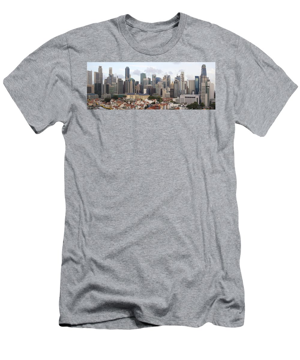 Singapore Men's T-Shirt (Athletic Fit) featuring the photograph Singapore Skyline Along Chinatown Area by Jit Lim