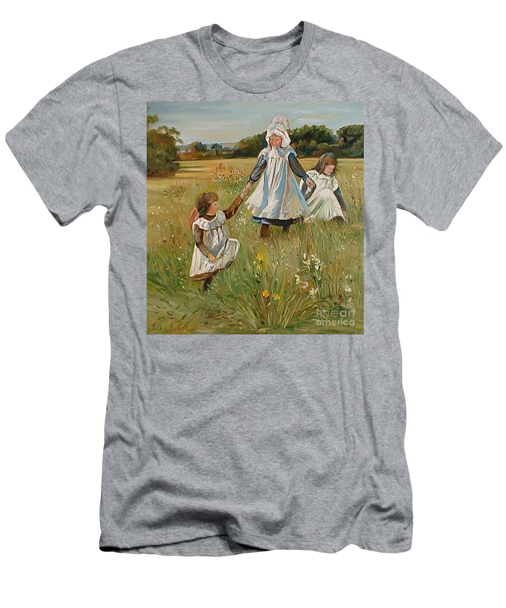 Classic Art Men's T-Shirt (Athletic Fit) featuring the painting Sisters by Silvana Abel