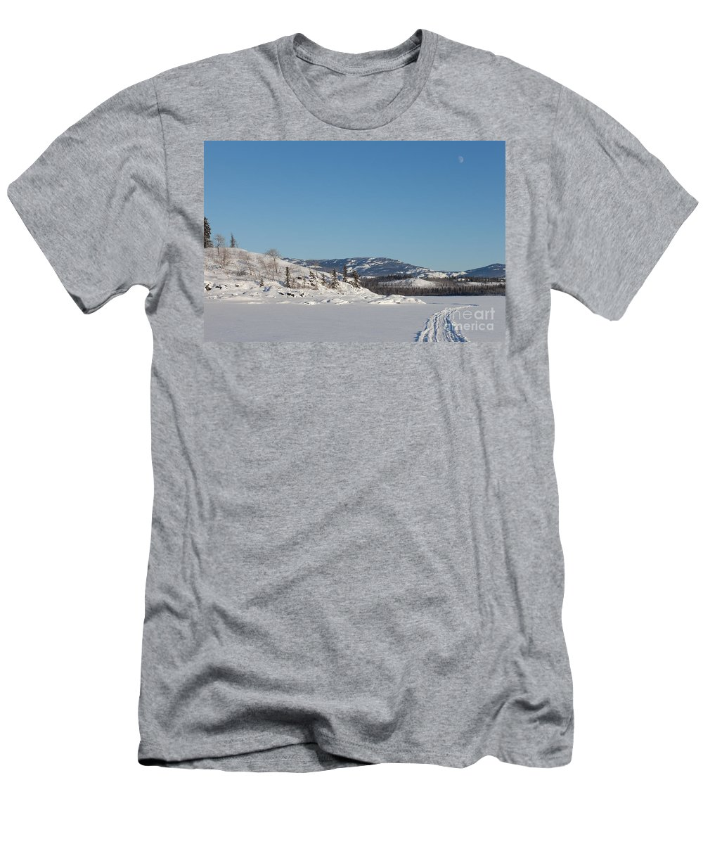 Alaska Men's T-Shirt (Athletic Fit) featuring the photograph Skidoo Track On Frozen Lake by Stephan Pietzko
