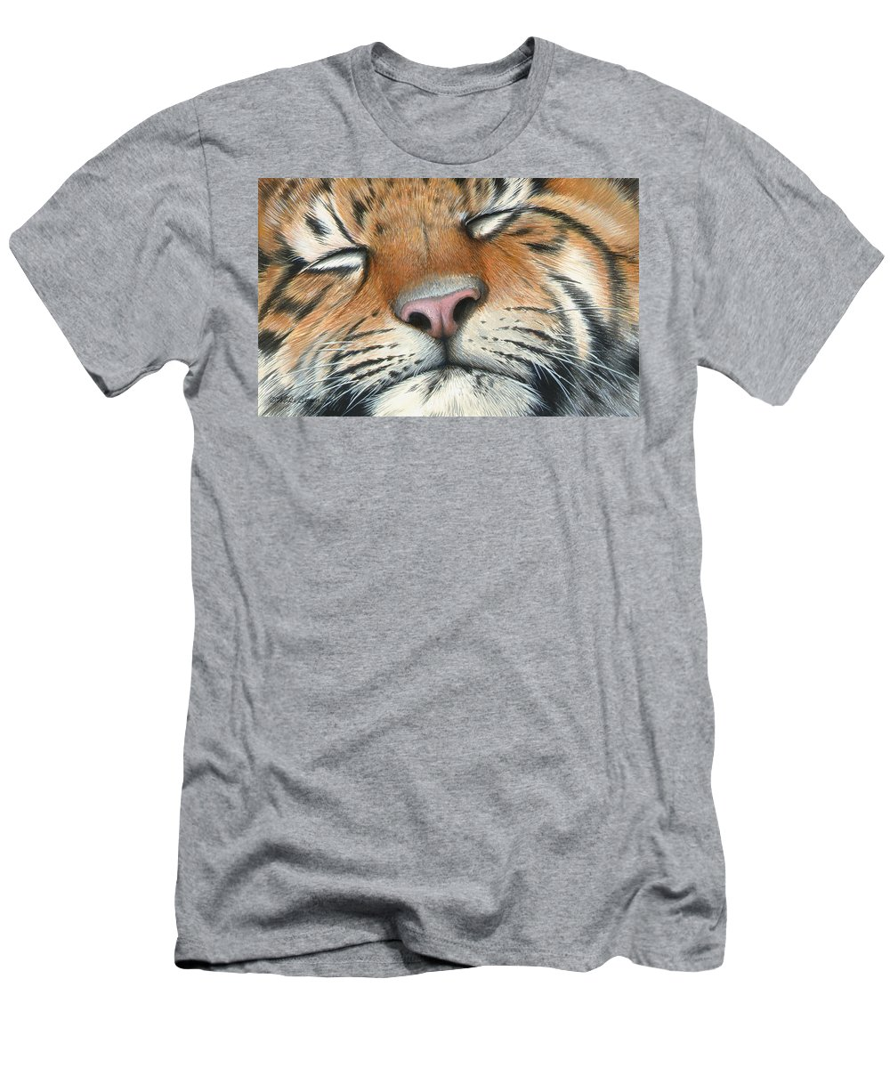 Tiger Men's T-Shirt (Athletic Fit) featuring the painting Sleeping Beauty by Mike Brown